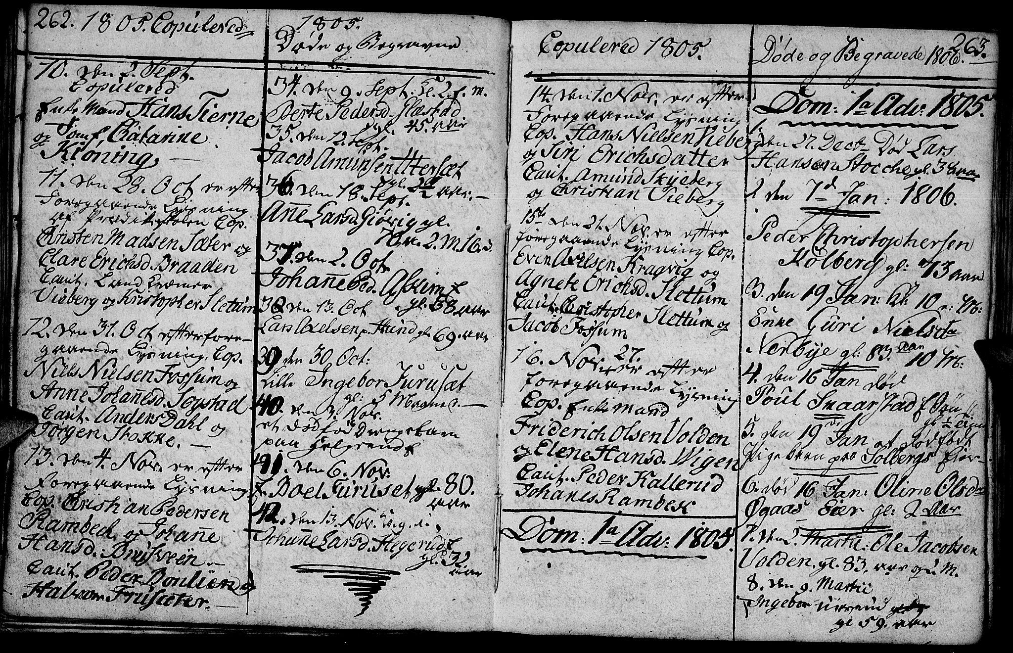 SAH, Vardal prestekontor, H/Ha/Hab/L0003: Klokkerbok nr. 3, 1803-1808, s. 262-263