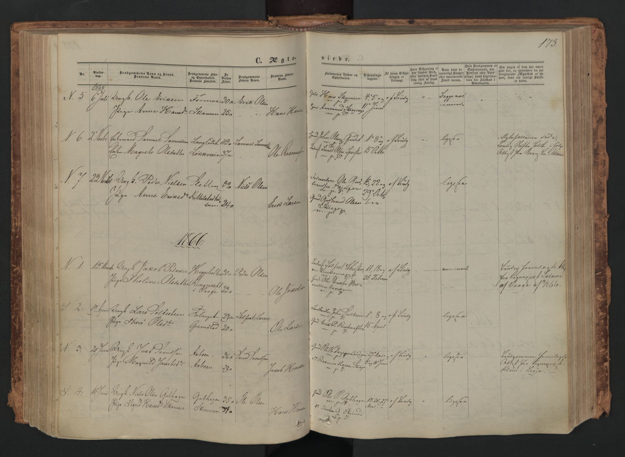 SAH, Skjåk prestekontor, Ministerialbok nr. 1, 1863-1879, s. 173