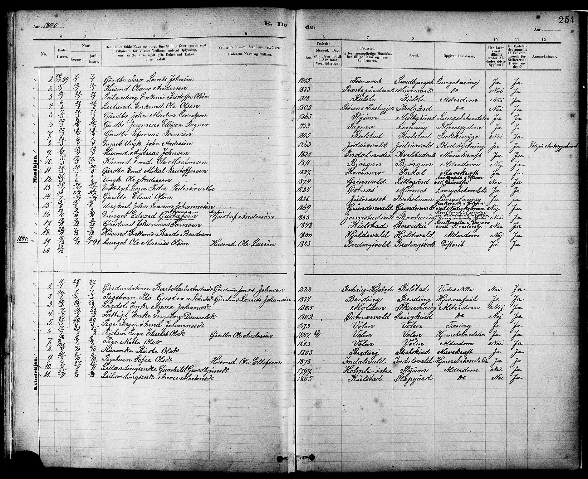 SAT, Ministerialprotokoller, klokkerbøker og fødselsregistre - Nord-Trøndelag, 724/L0267: Klokkerbok nr. 724C03, 1879-1898, s. 254