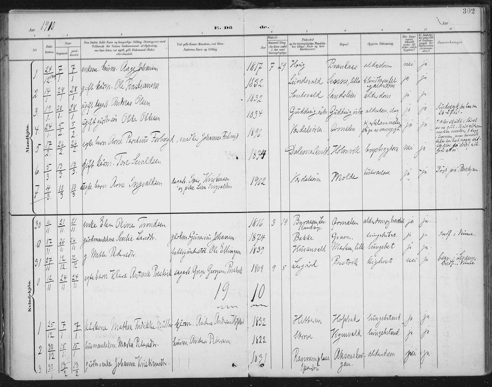 SAT, Ministerialprotokoller, klokkerbøker og fødselsregistre - Nord-Trøndelag, 723/L0246: Ministerialbok nr. 723A15, 1900-1917, s. 302