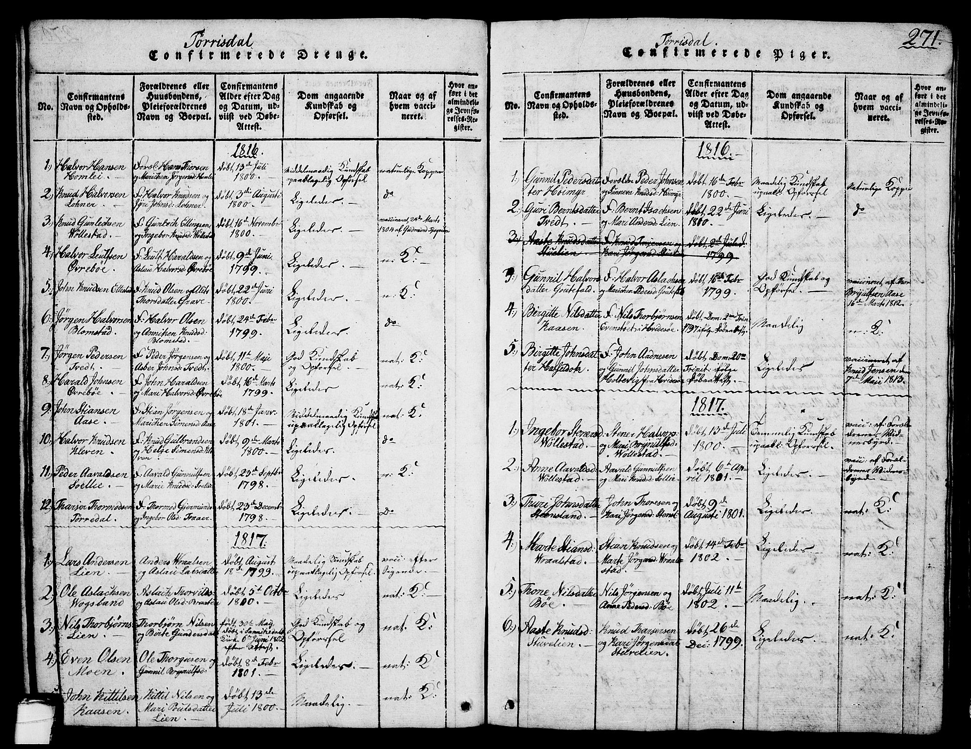 SAKO, Drangedal kirkebøker, G/Ga/L0001: Klokkerbok nr. I 1 /2, 1814-1856, s. 271