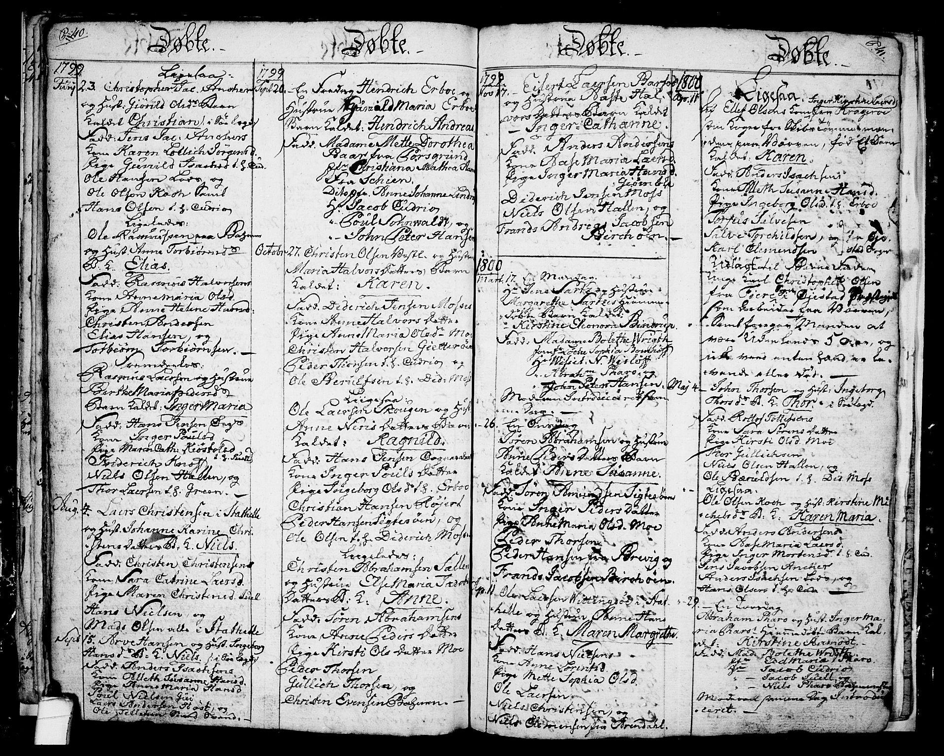 SAKO, Langesund kirkebøker, G/Ga/L0001: Klokkerbok nr. 1, 1783-1801, s. 40-41
