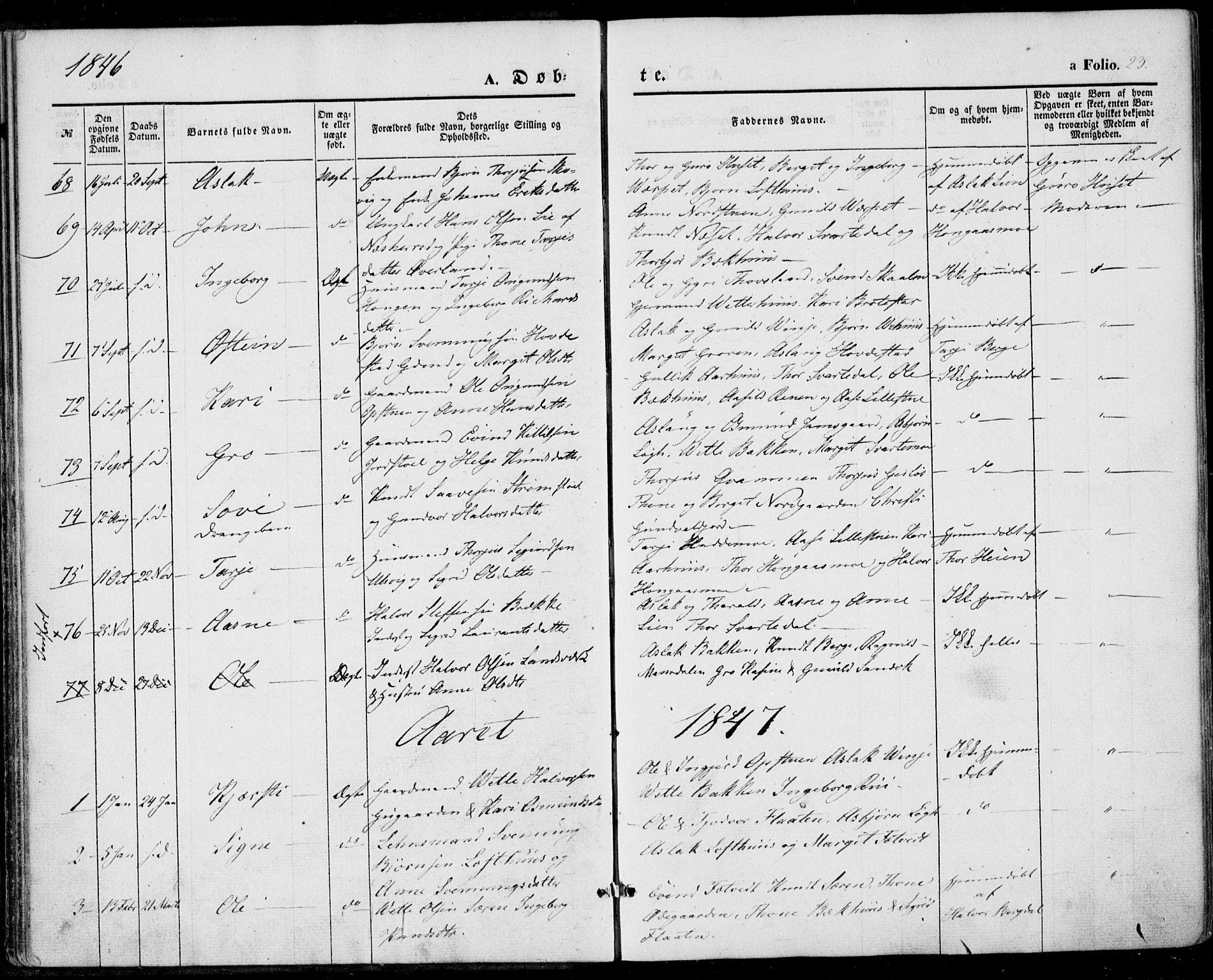 SAKO, Vinje kirkebøker, F/Fa/L0004: Ministerialbok nr. I 4, 1843-1869, s. 23