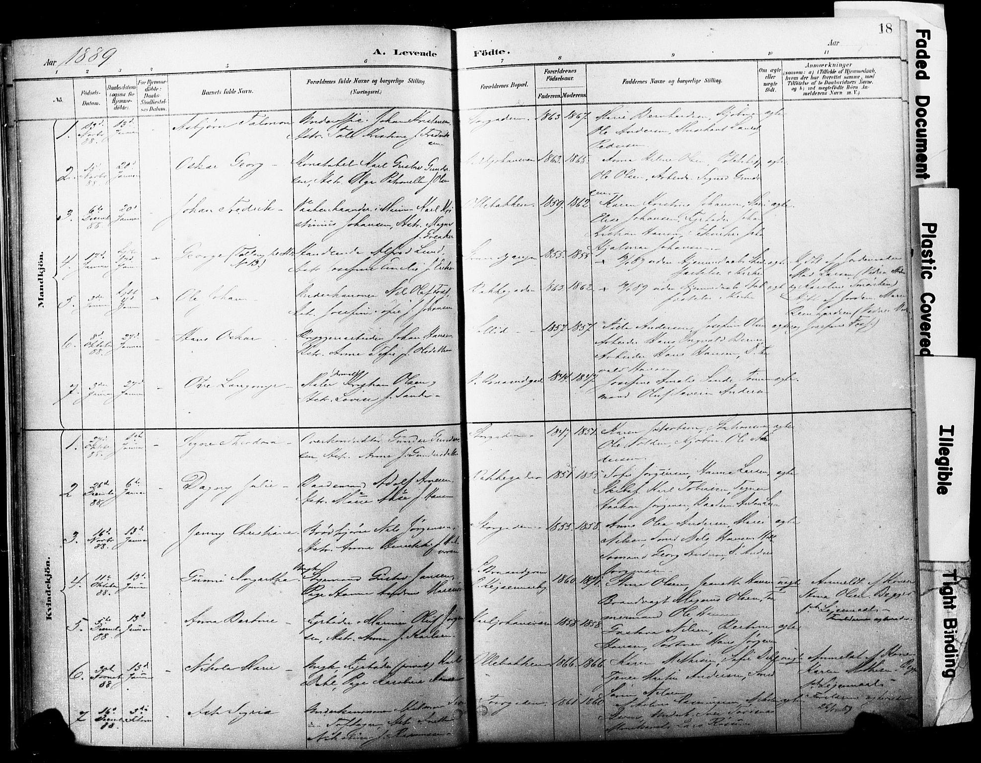 SAKO, Horten kirkebøker, F/Fa/L0004: Ministerialbok nr. 4, 1888-1895, s. 18
