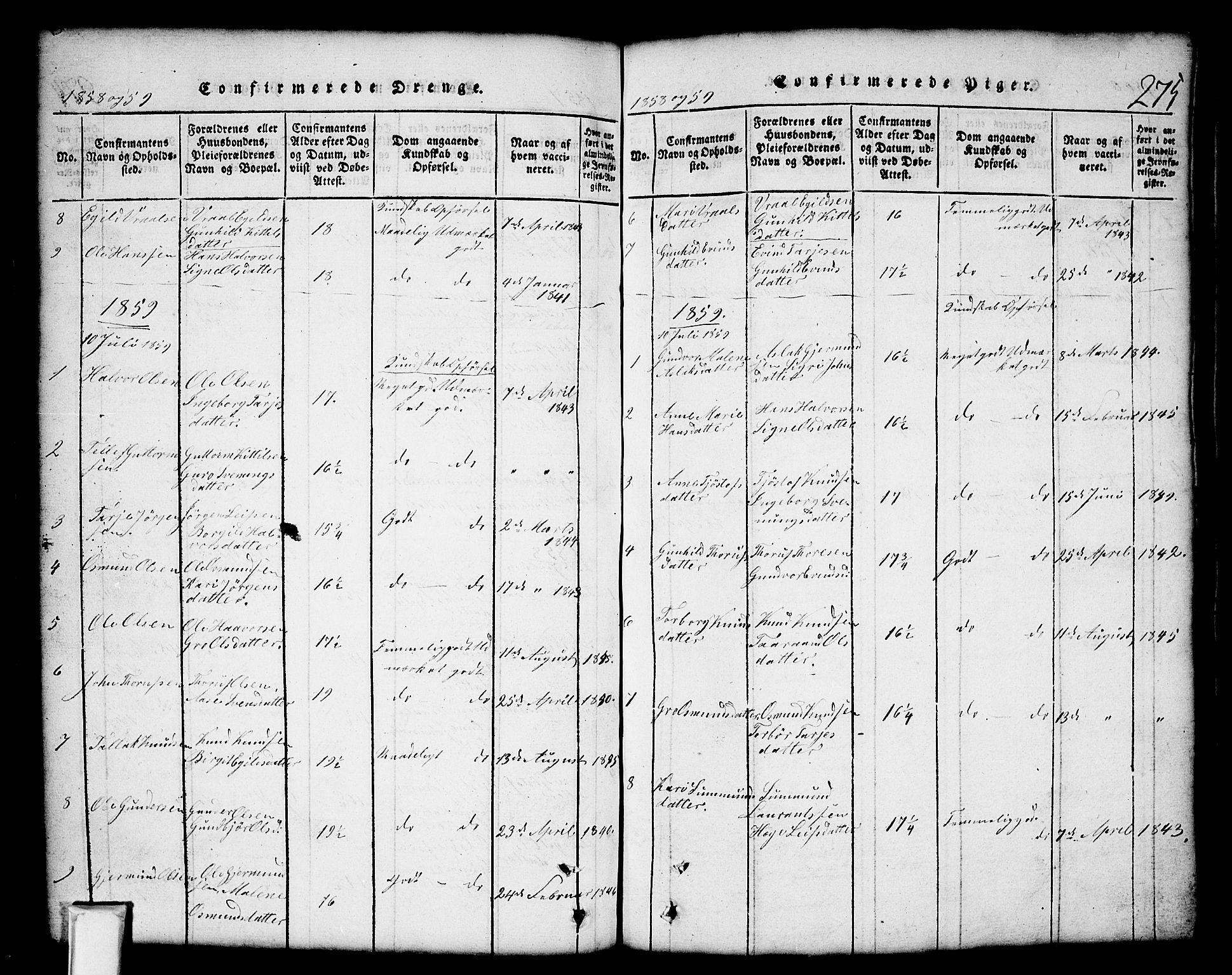 SAKO, Nissedal kirkebøker, G/Gb/L0001: Klokkerbok nr. II 1, 1814-1862, s. 275