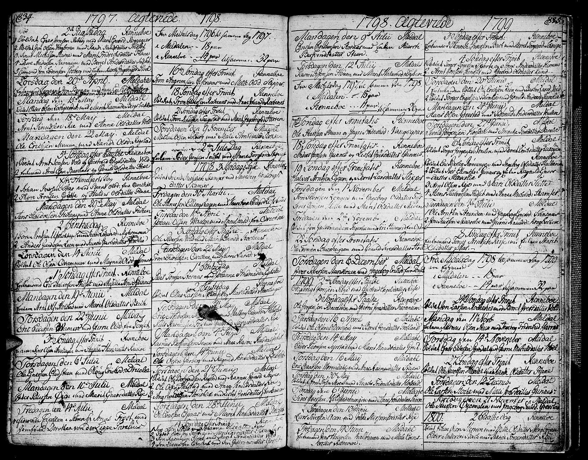 SAT, Ministerialprotokoller, klokkerbøker og fødselsregistre - Sør-Trøndelag, 672/L0852: Ministerialbok nr. 672A05, 1776-1815, s. 834-835