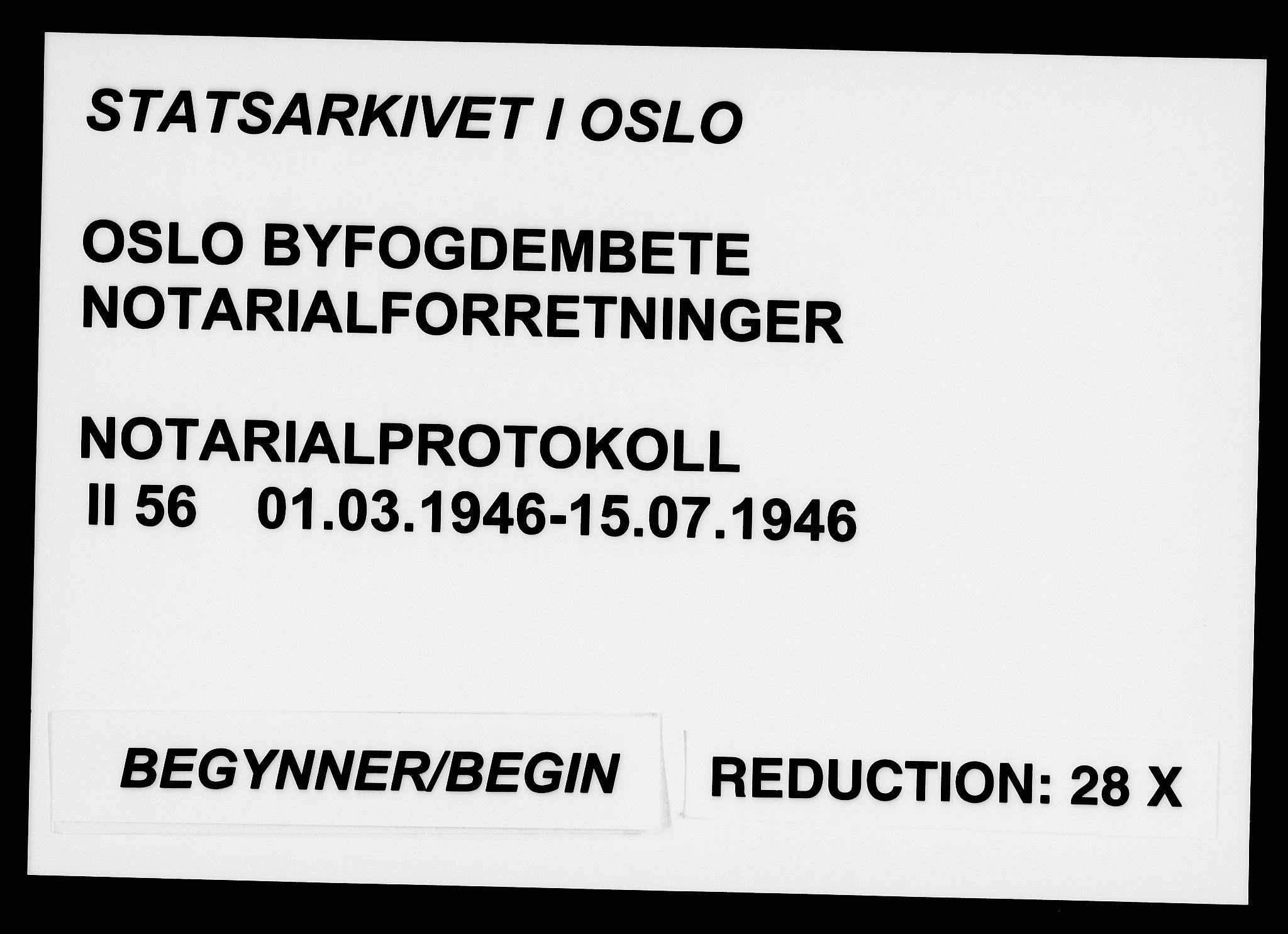 SAO, Oslo byfogd avd. I, L/Lb/Lbb/L0056: Notarialprotokoll, rekke II: Vigsler, 1946, s. upaginert