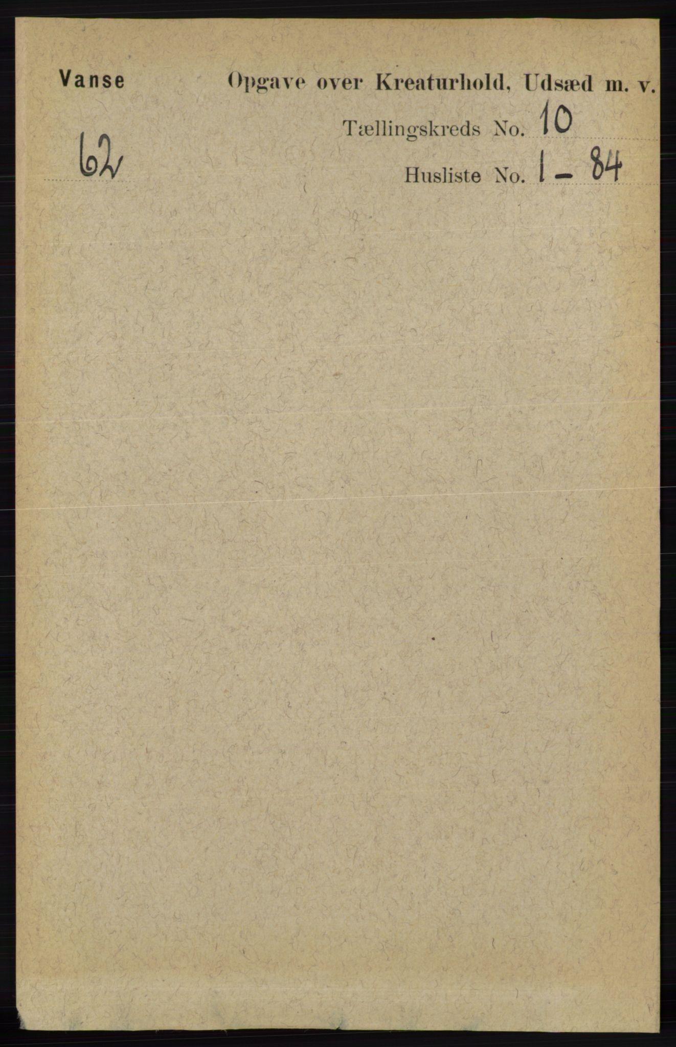 RA, Folketelling 1891 for 1041 Vanse herred, 1891, s. 9695