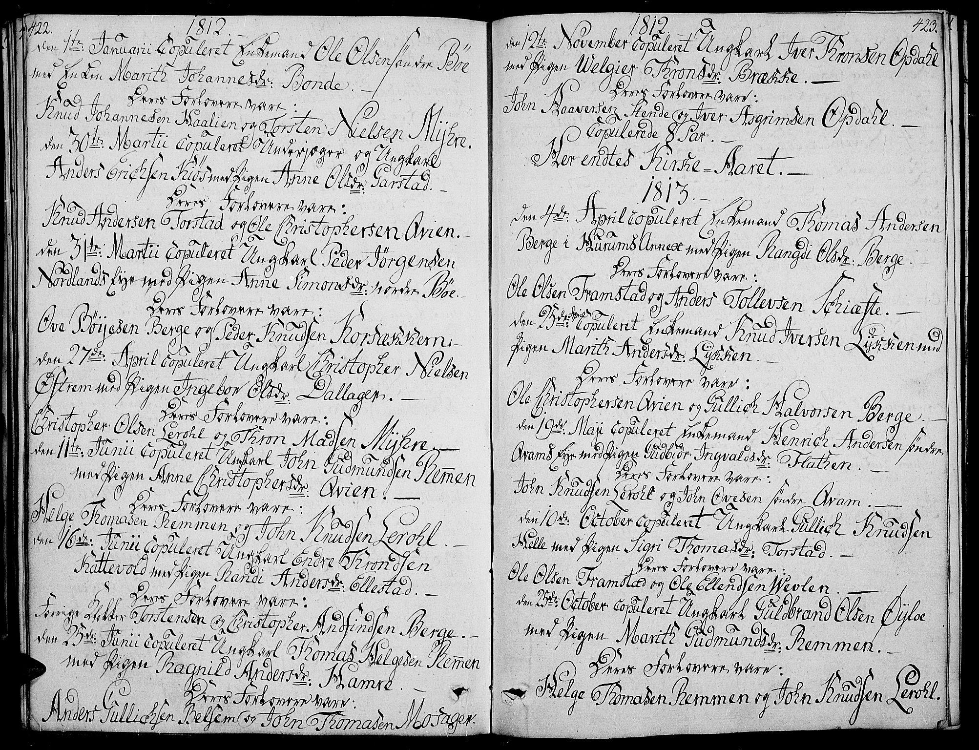 SAH, Vang prestekontor, Valdres, Ministerialbok nr. 3, 1809-1831, s. 422-423