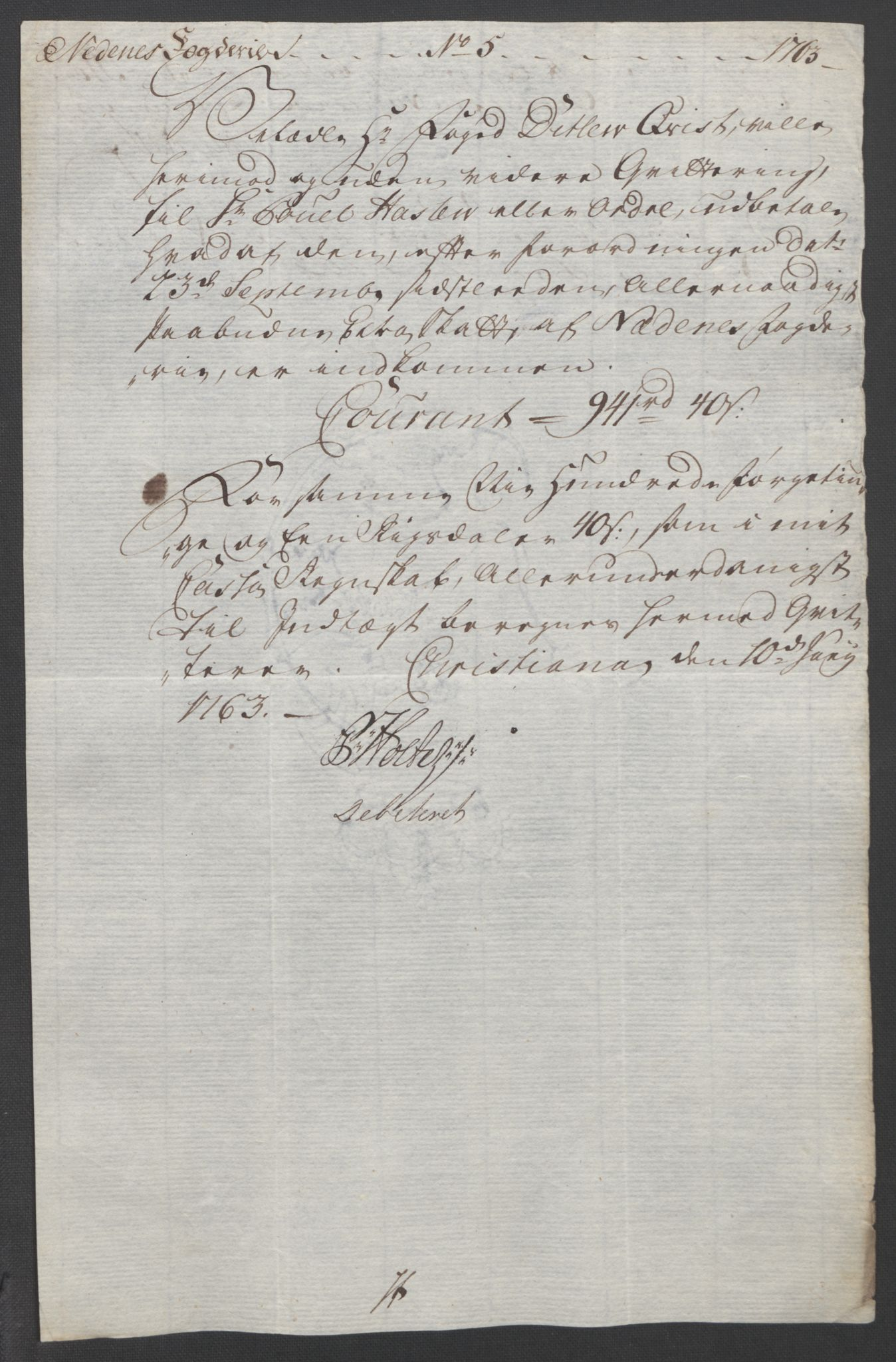 RA, Rentekammeret inntil 1814, Reviderte regnskaper, Fogderegnskap, R39/L2424: Ekstraskatten Nedenes, 1762-1767, s. 41