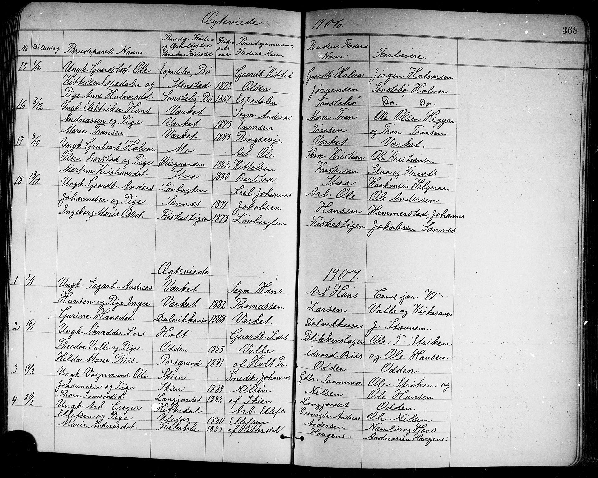 SAKO, Holla kirkebøker, G/Ga/L0005: Klokkerbok nr. I 5, 1891-1917, s. 368