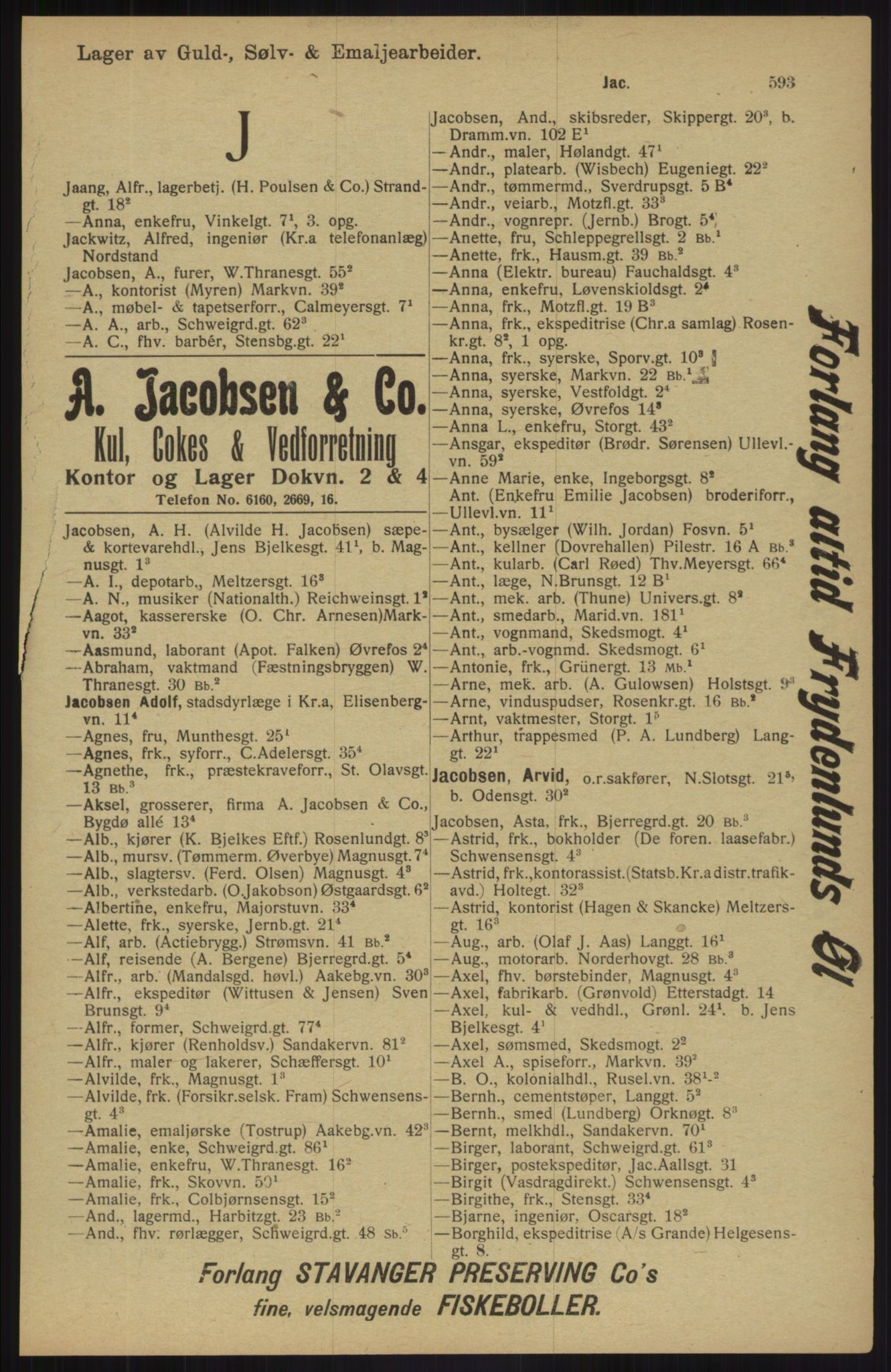 RA, Kristiania adressebok (publikasjon)*, 1913, s. 593
