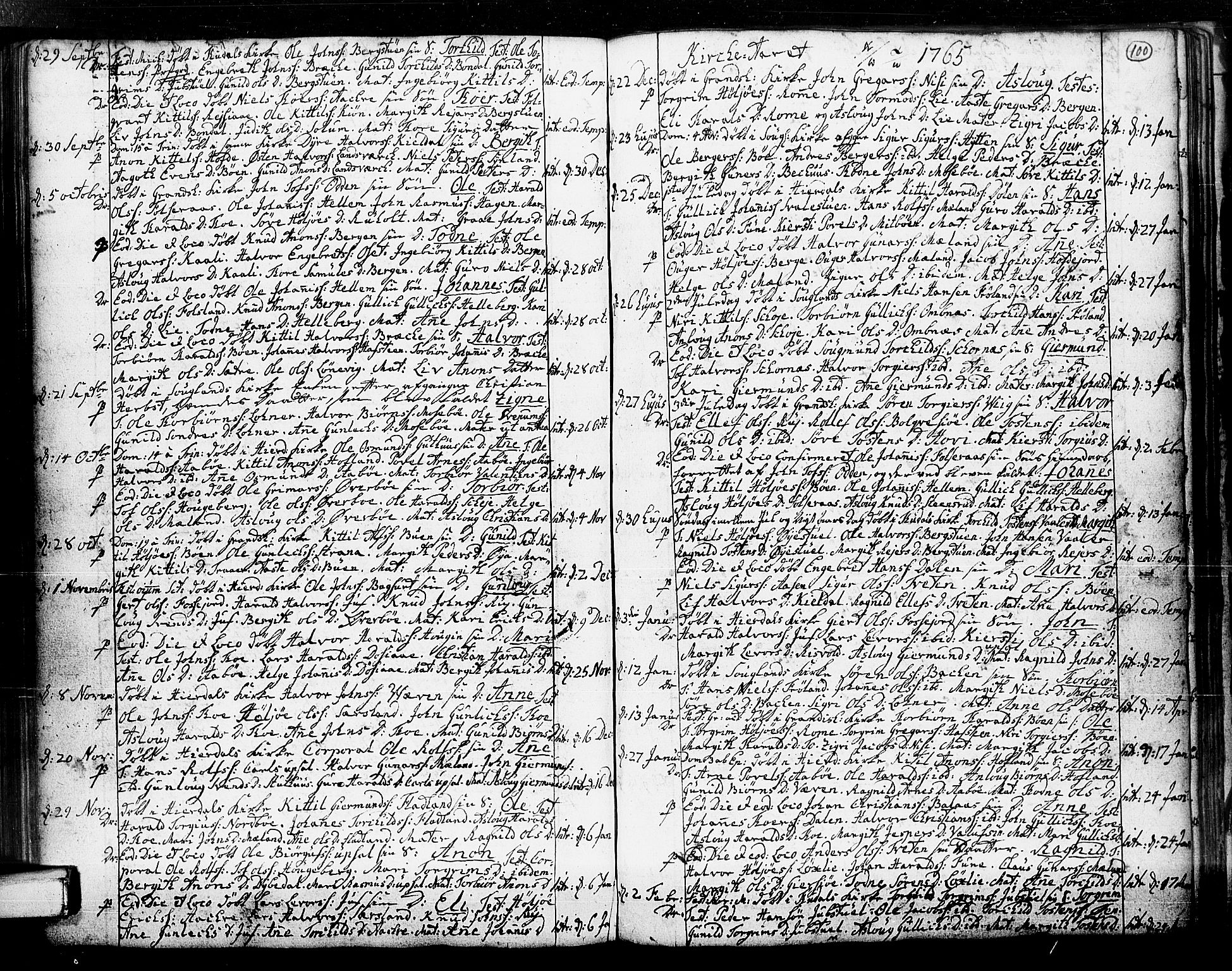 SAKO, Hjartdal kirkebøker, F/Fa/L0003: Ministerialbok nr. I 3, 1727-1775, s. 100