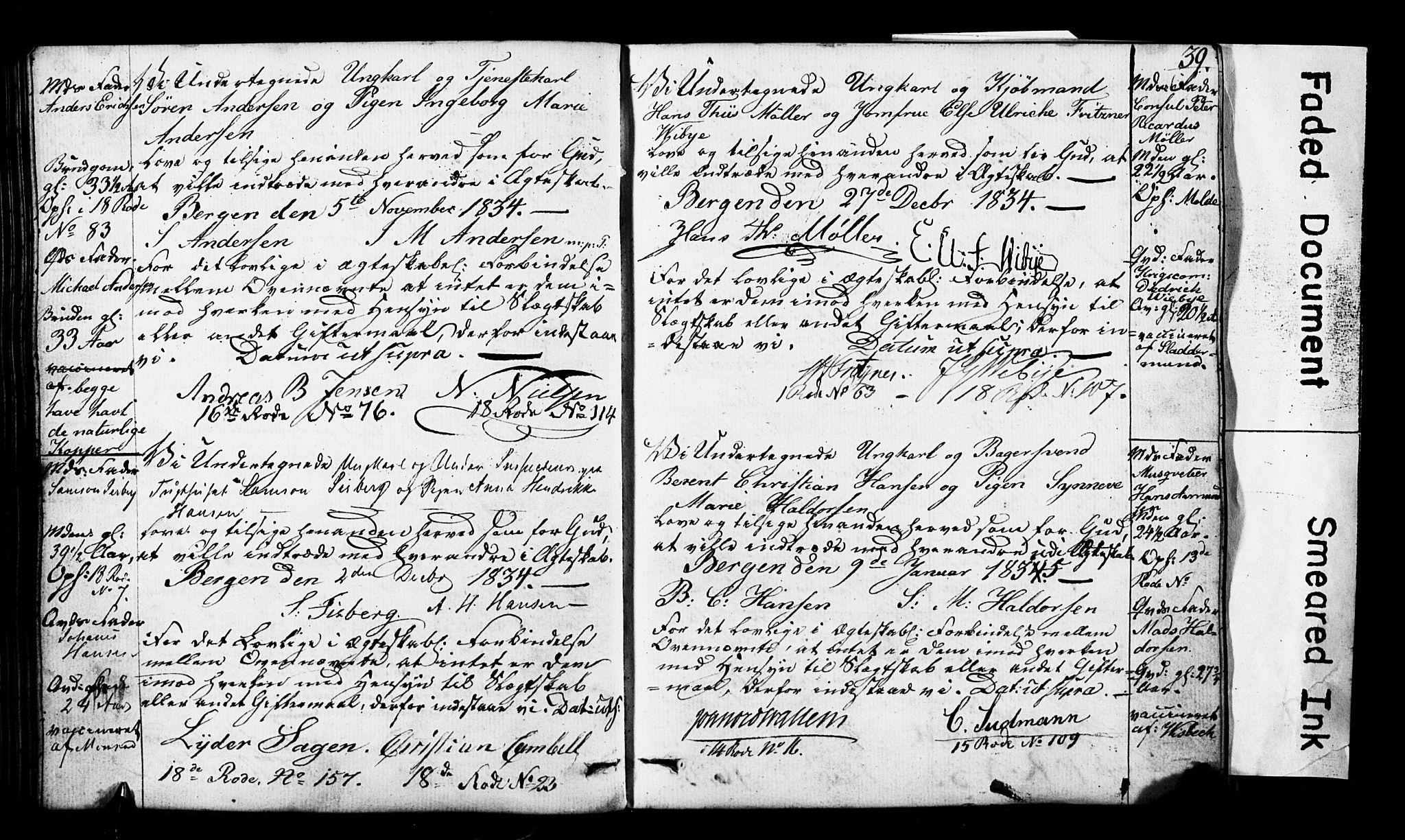 SAB, Domkirken Sokneprestembete, Forlovererklæringer nr. II.5.3, 1832-1845, s. 39