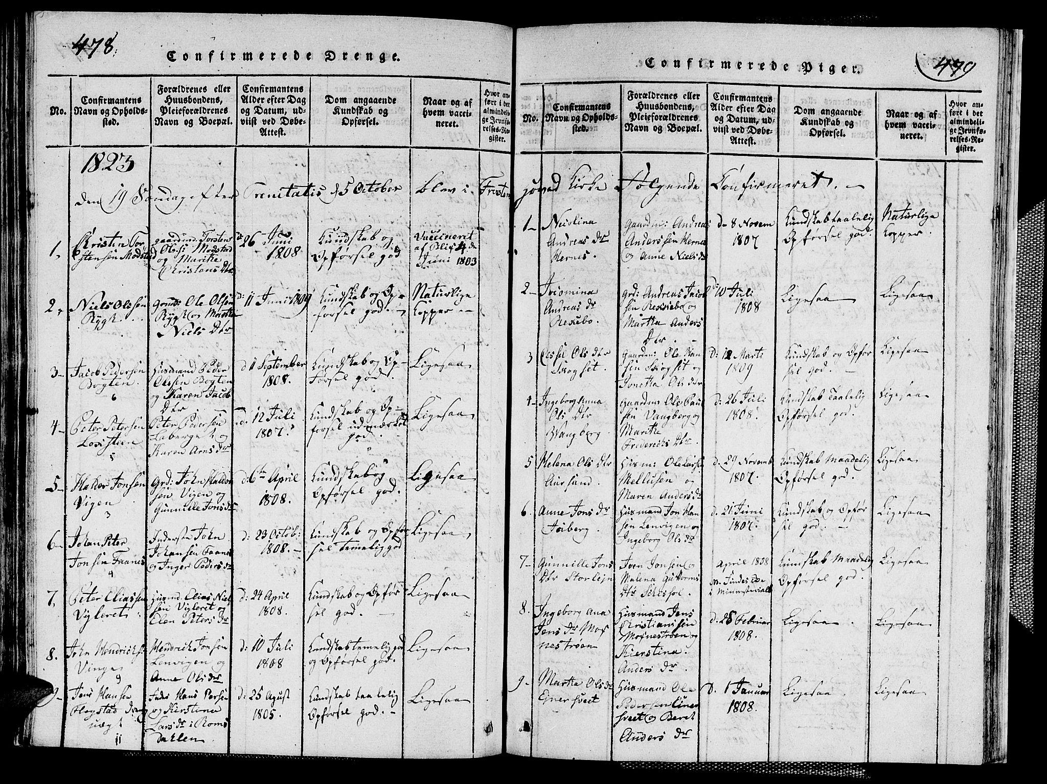 SAT, Ministerialprotokoller, klokkerbøker og fødselsregistre - Nord-Trøndelag, 713/L0124: Klokkerbok nr. 713C01, 1817-1827, s. 478-479