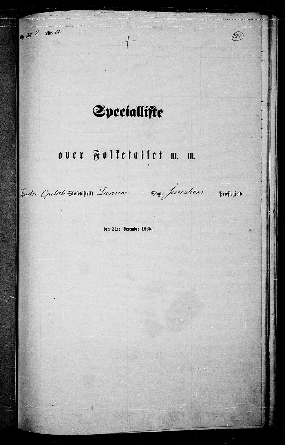 RA, Folketelling 1865 for 0532P Jevnaker prestegjeld, 1865, s. 171