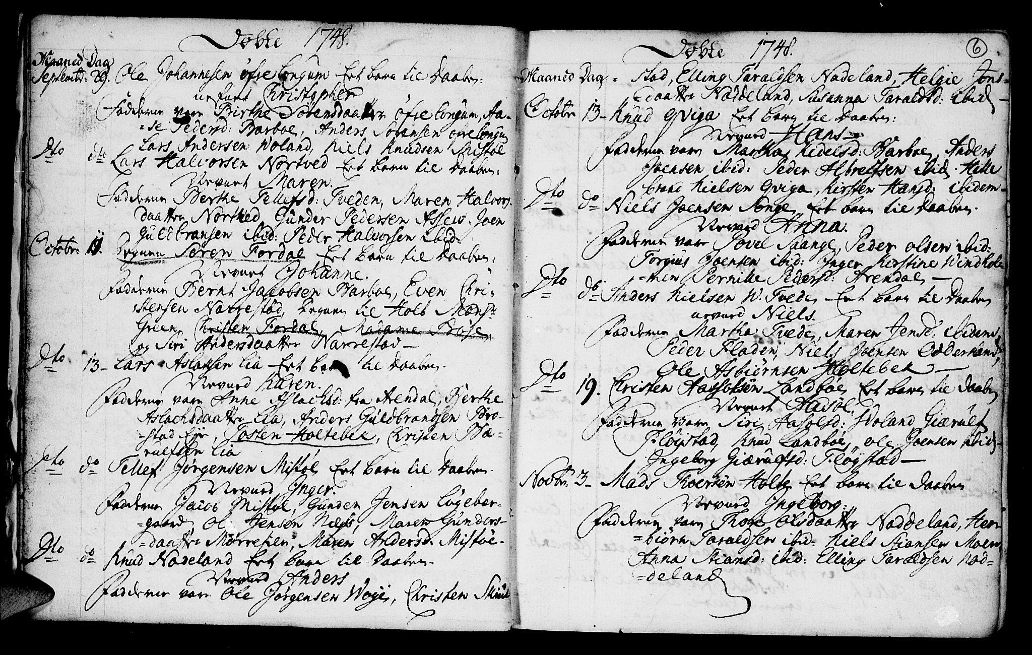 SAK, Austre Moland sokneprestkontor, F/Fa/Faa/L0001: Ministerialbok nr. A 1, 1747-1764, s. 6