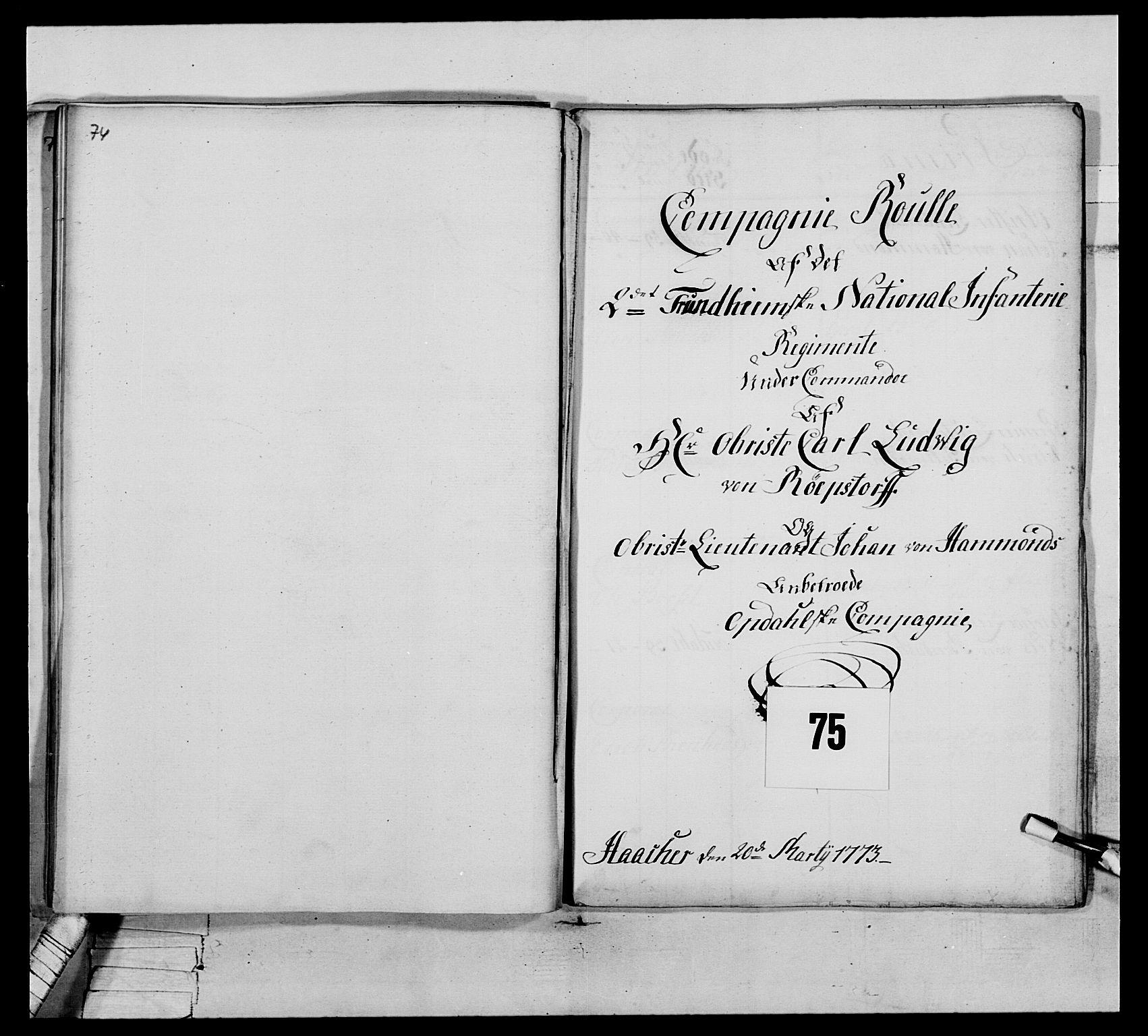 RA, Generalitets- og kommissariatskollegiet, Det kongelige norske kommissariatskollegium, E/Eh/L0076: 2. Trondheimske nasjonale infanteriregiment, 1766-1773, s. 343