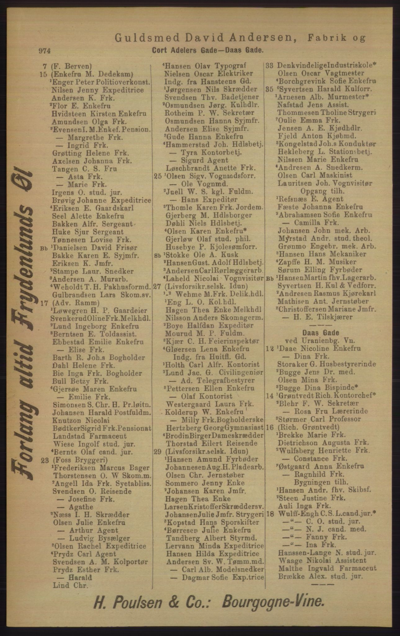 RA, Kristiania adressebok (publikasjon)*, 1906, s. 974