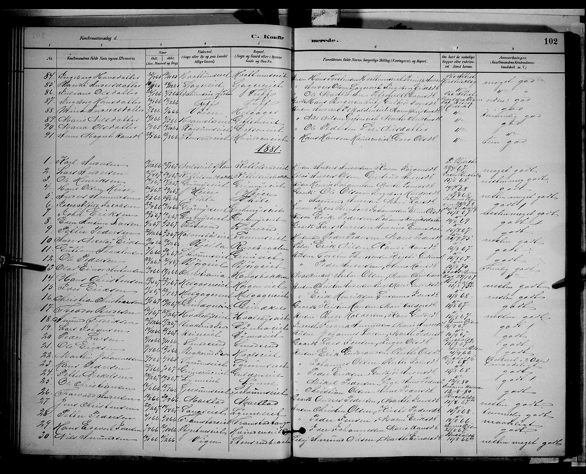 SAH, Gran prestekontor, Klokkerbok nr. 2, 1879-1892, s. 102