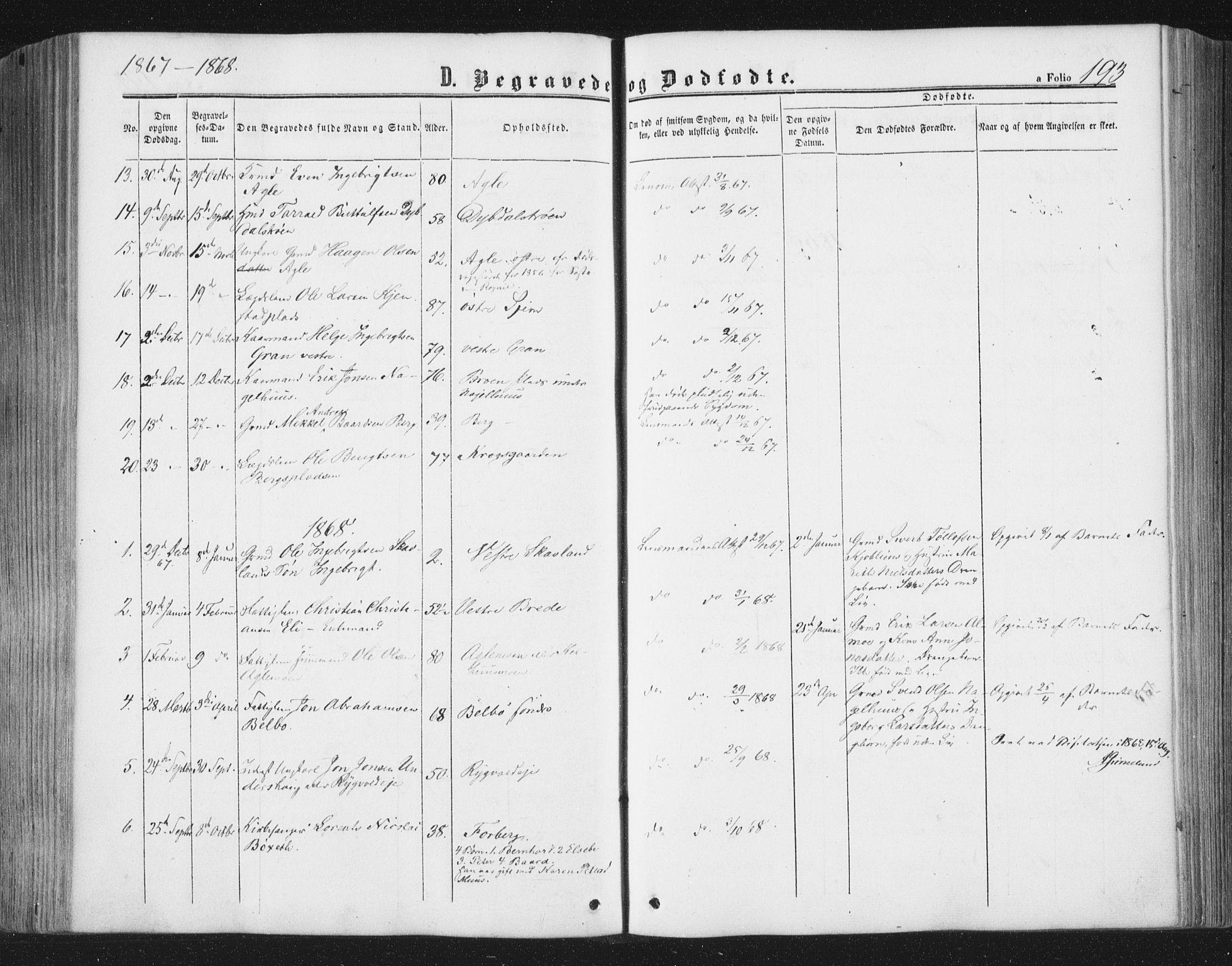 SAT, Ministerialprotokoller, klokkerbøker og fødselsregistre - Nord-Trøndelag, 749/L0472: Ministerialbok nr. 749A06, 1857-1873, s. 193