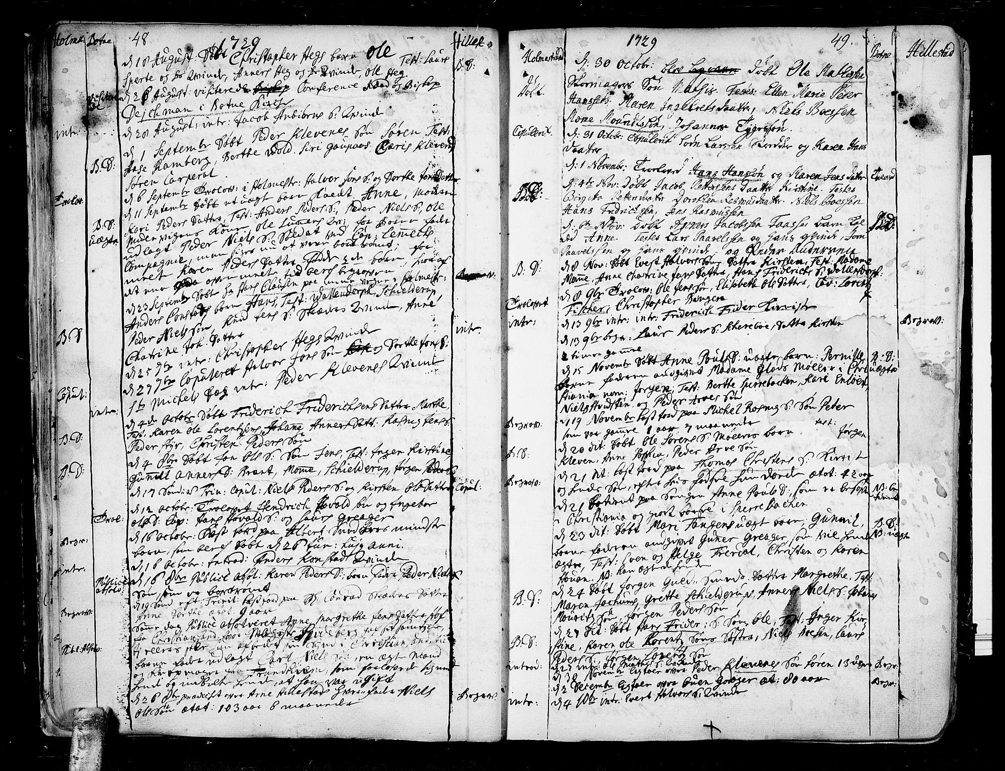 SAKO, Botne kirkebøker, F/Fa/L0001a: Ministerialbok nr. I 1A, 1707-1778, s. 48-49