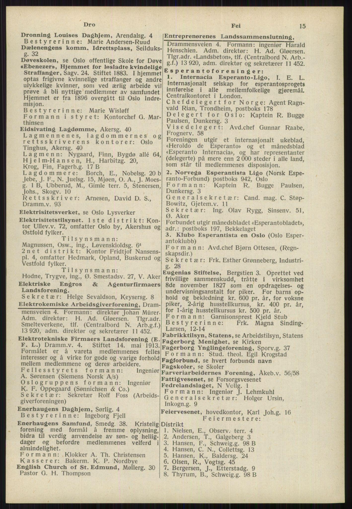 RA, Oslo adressebok (publikasjon)*, 1939, s. 15