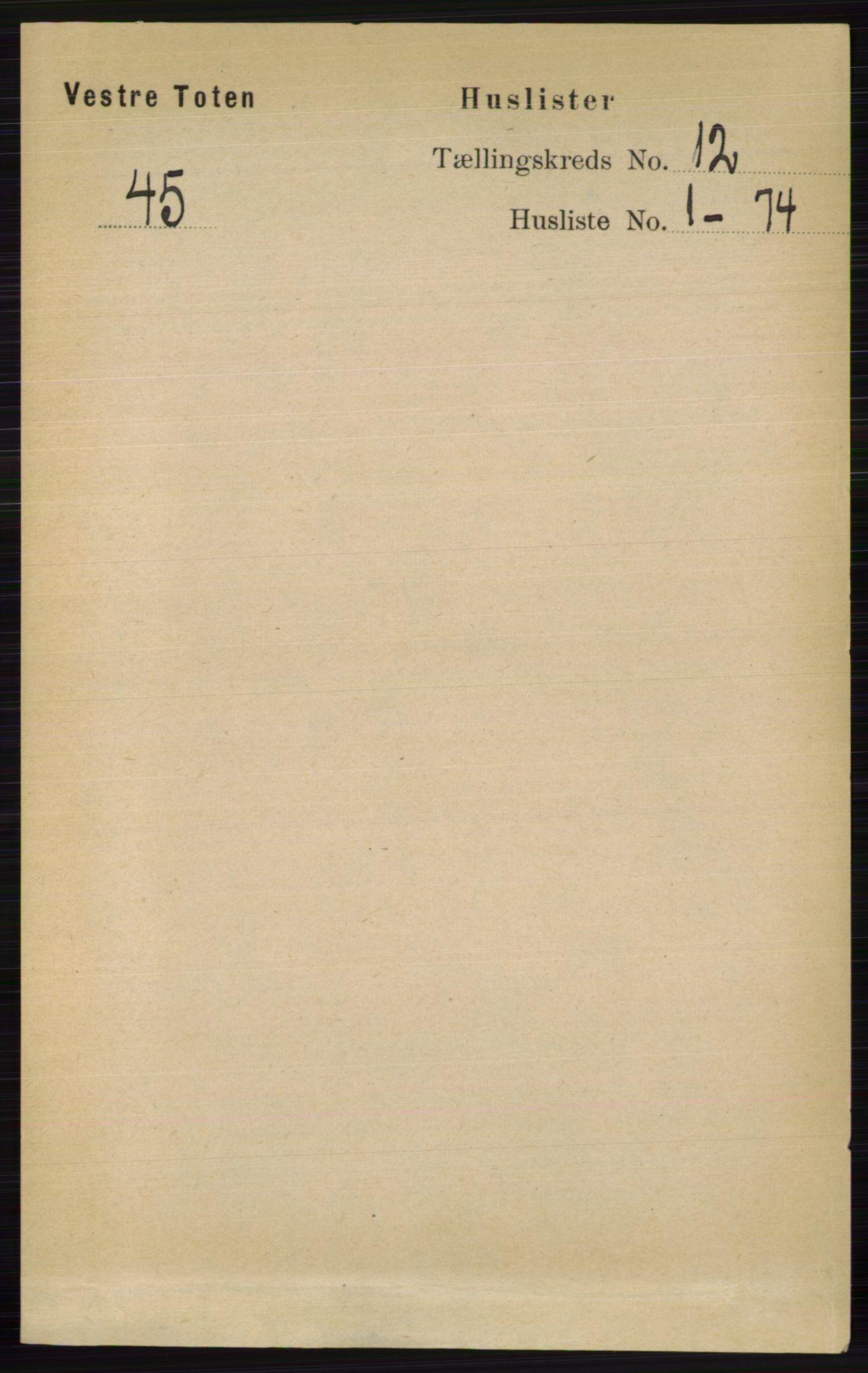 RA, Folketelling 1891 for 0529 Vestre Toten herred, 1891, s. 7200