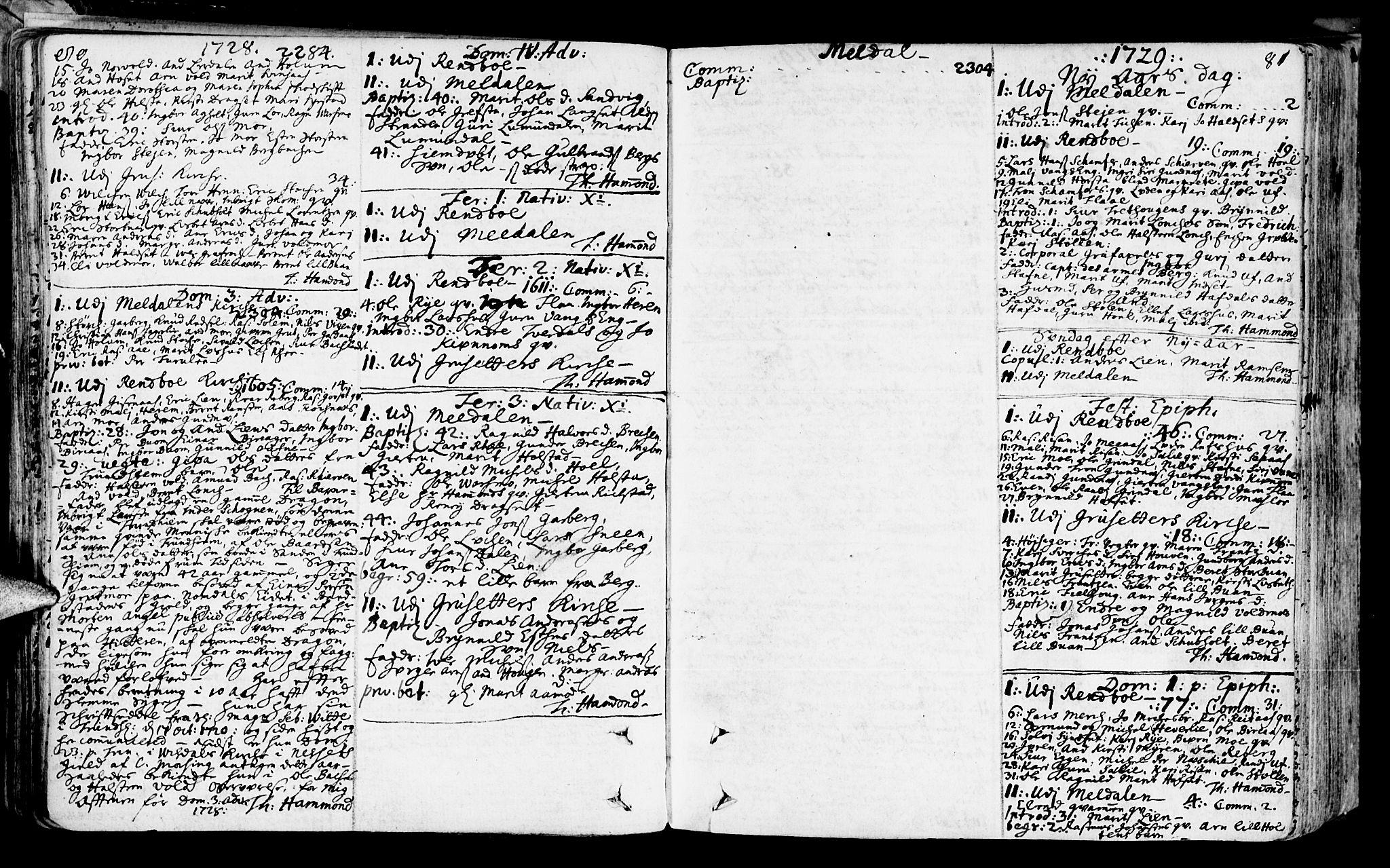 SAT, Ministerialprotokoller, klokkerbøker og fødselsregistre - Sør-Trøndelag, 672/L0850: Ministerialbok nr. 672A03, 1725-1751, s. 80-81