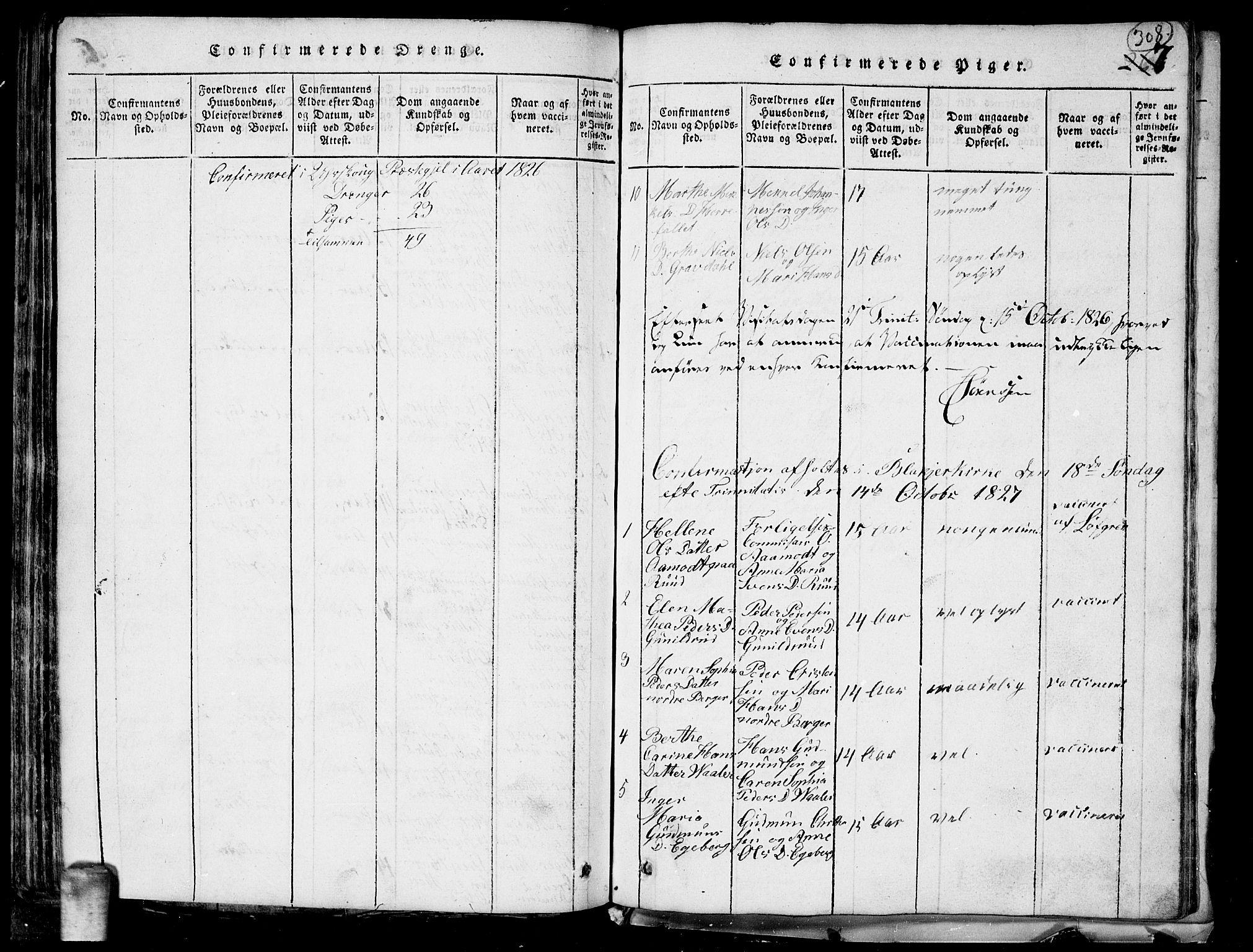 SAO, Aurskog prestekontor Kirkebøker, G/Ga/L0001: Klokkerbok nr. I 1, 1814-1829, s. 308