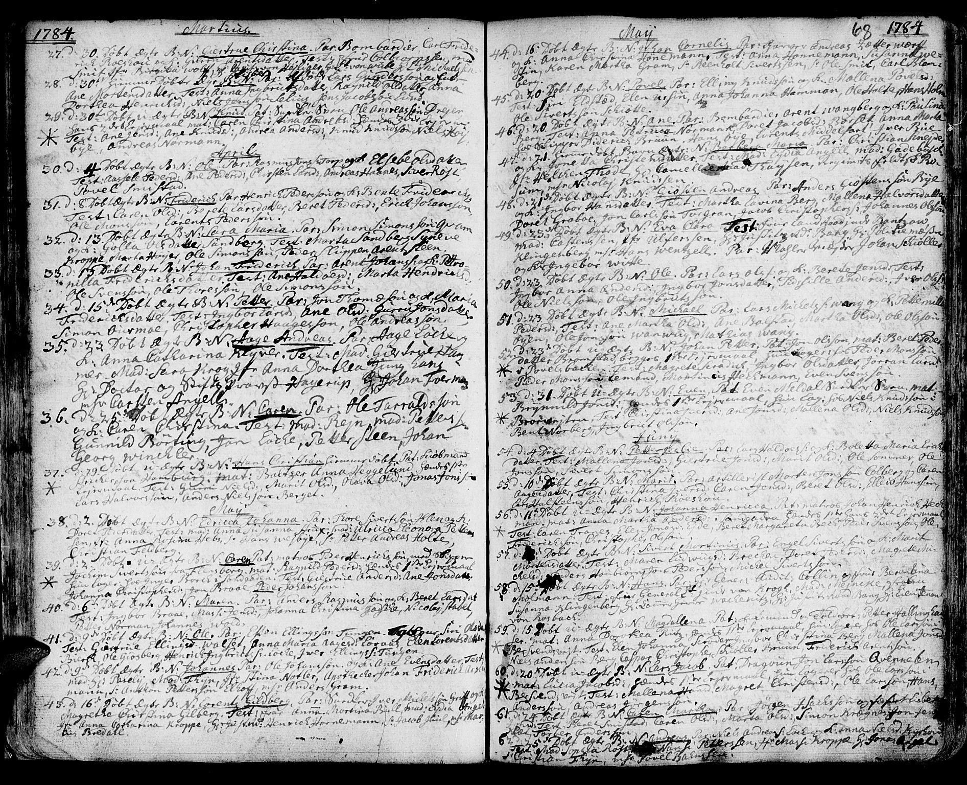 SAT, Ministerialprotokoller, klokkerbøker og fødselsregistre - Sør-Trøndelag, 601/L0039: Ministerialbok nr. 601A07, 1770-1819, s. 68