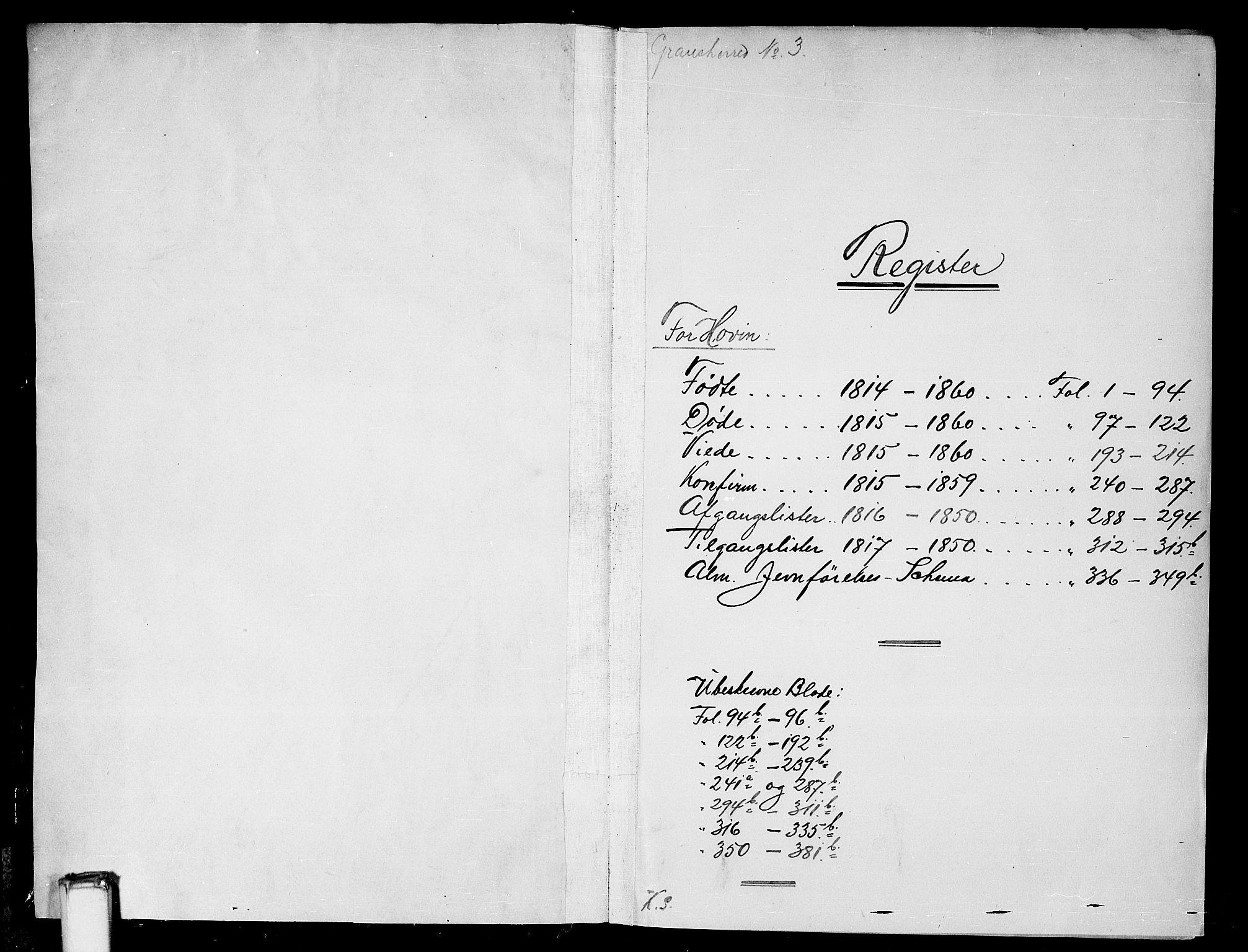 SAKO, Gransherad kirkebøker, G/Gb/L0001: Klokkerbok nr. II 1, 1815-1860