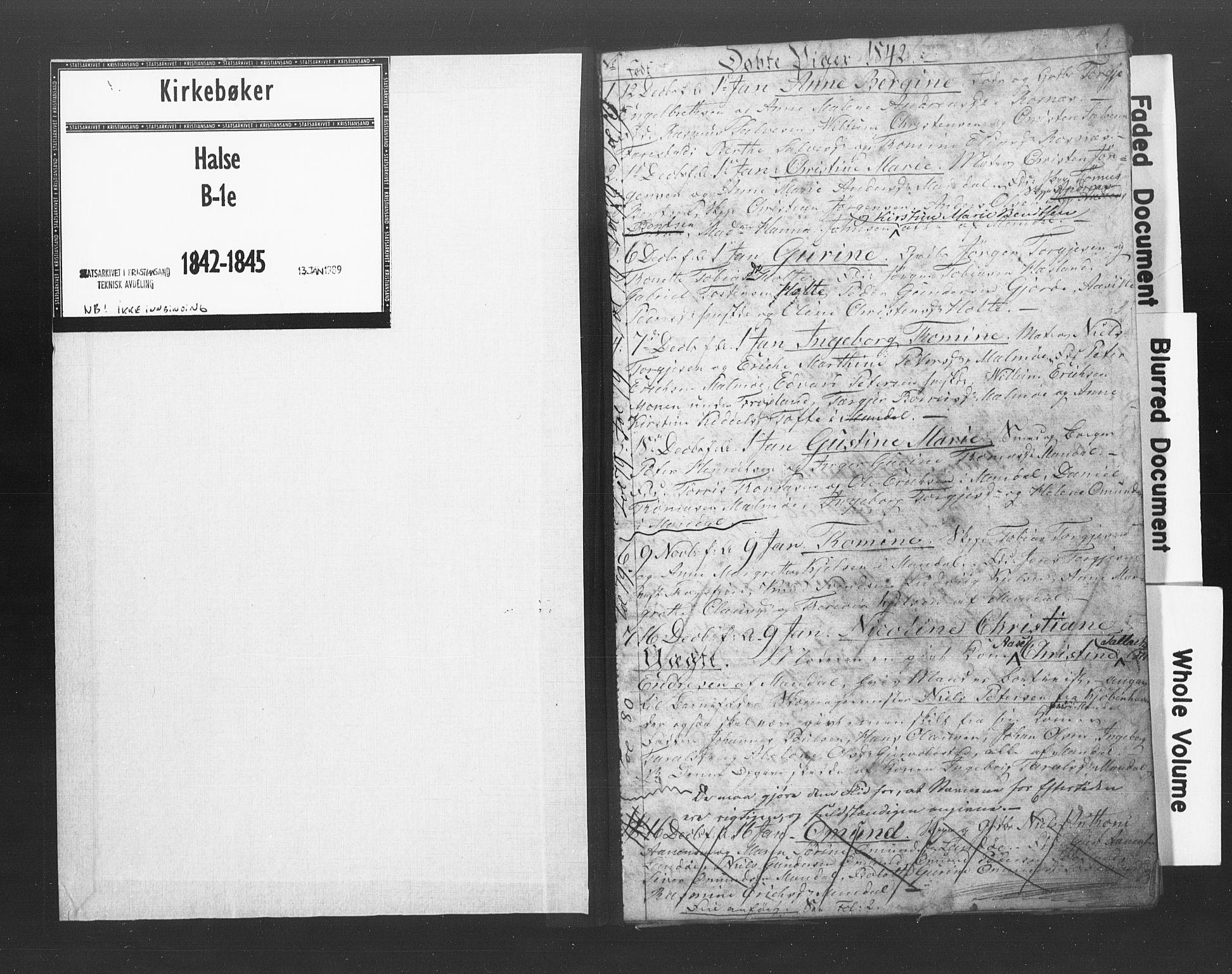 SAK, Mandal sokneprestkontor, F/Fb/Fba/L0005: Klokkerbok nr. B 1E, 1842-1845, s. 1
