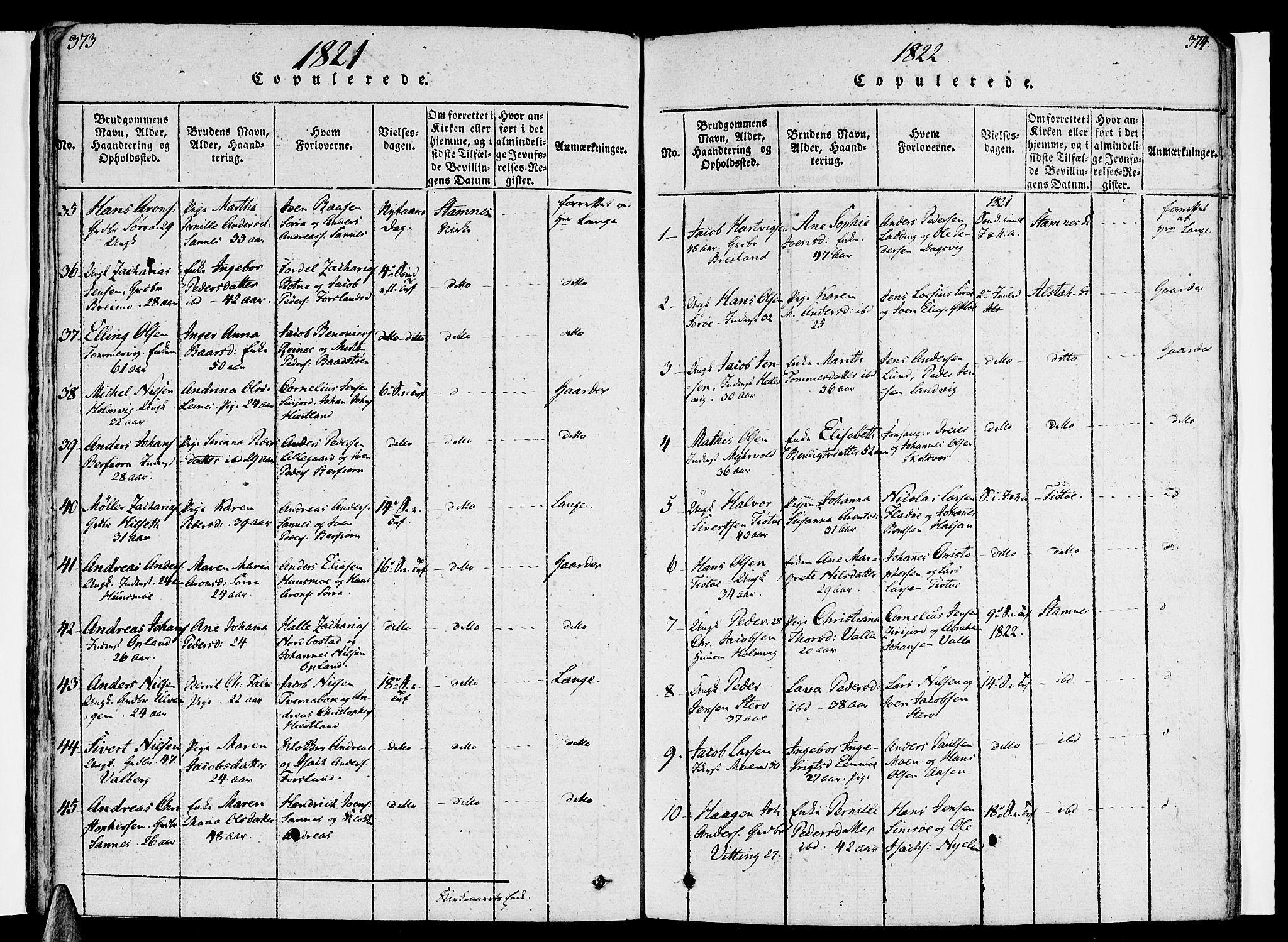 SAT, Ministerialprotokoller, klokkerbøker og fødselsregistre - Nordland, 830/L0445: Ministerialbok nr. 830A09, 1820-1830, s. 373-374