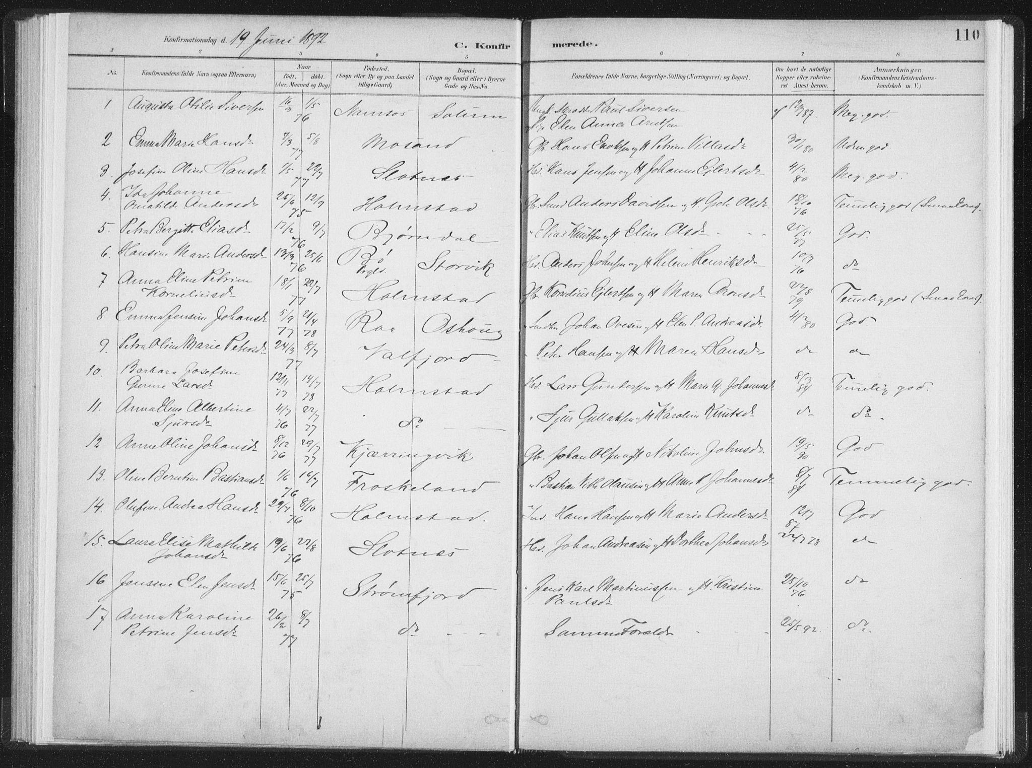 SAT, Ministerialprotokoller, klokkerbøker og fødselsregistre - Nordland, 890/L1286: Ministerialbok nr. 890A01, 1882-1902, s. 110