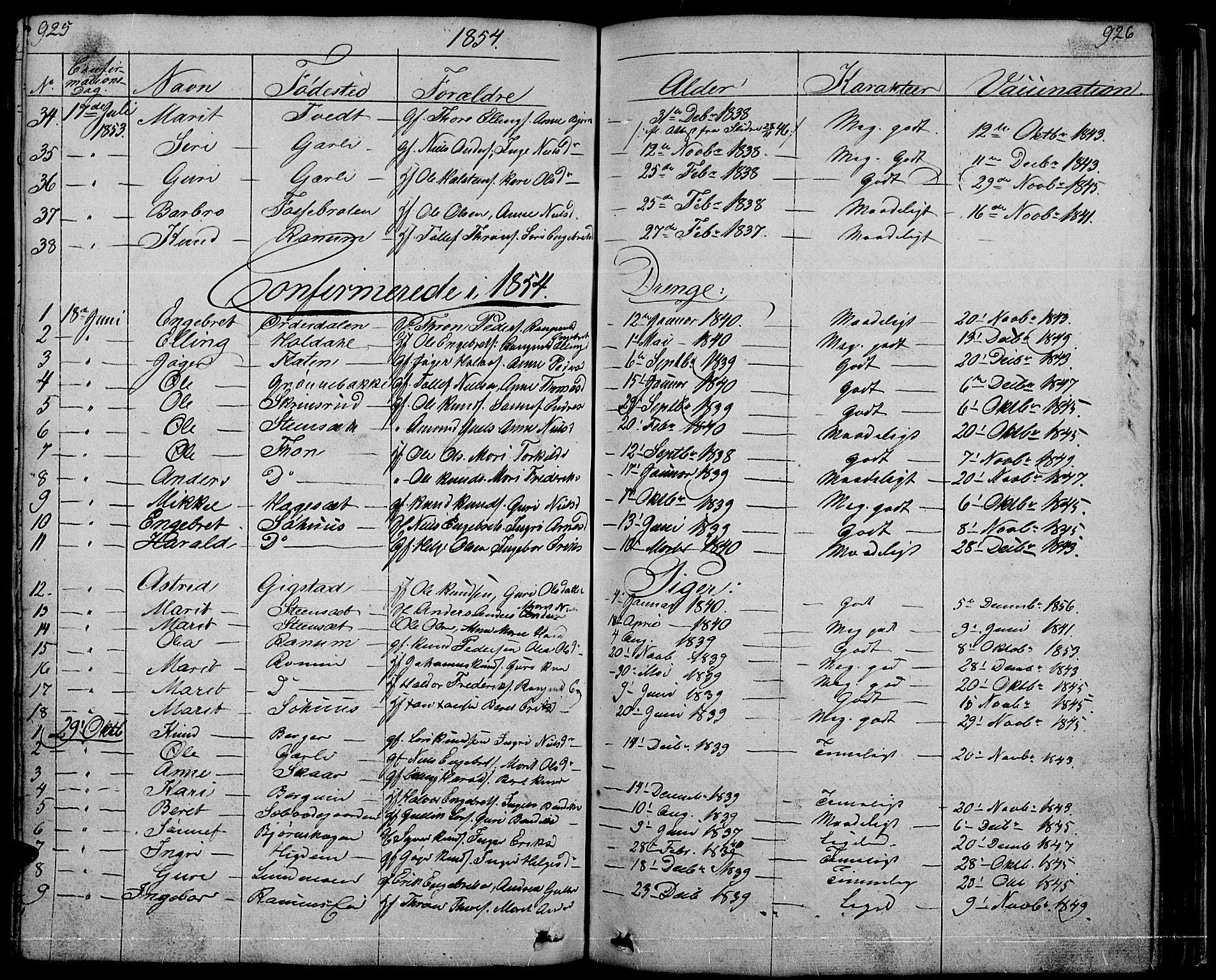 SAH, Nord-Aurdal prestekontor, Klokkerbok nr. 1, 1834-1887, s. 925-926