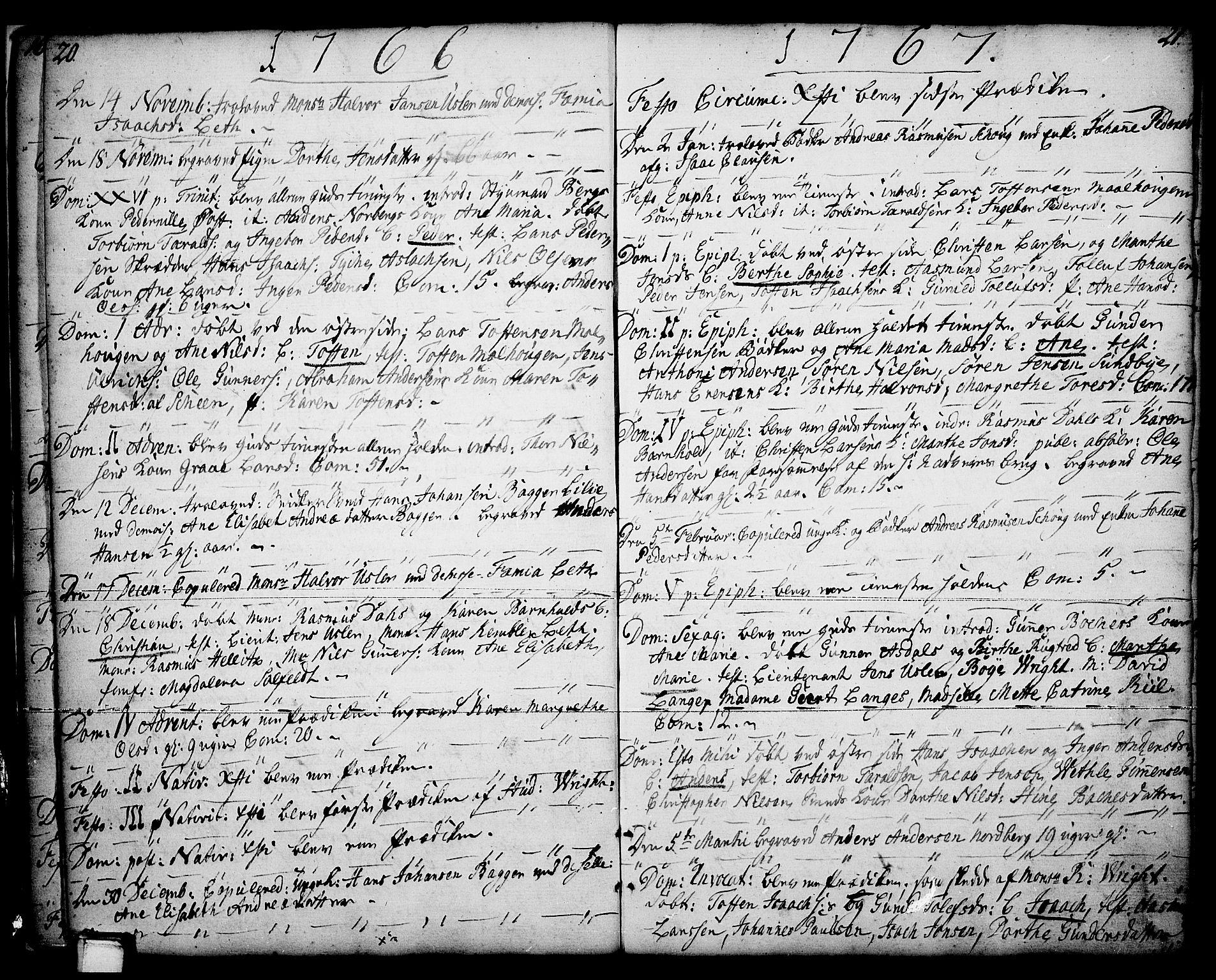 SAKO, Porsgrunn kirkebøker , F/Fa/L0001: Ministerialbok nr. 1, 1764-1814, s. 20-21