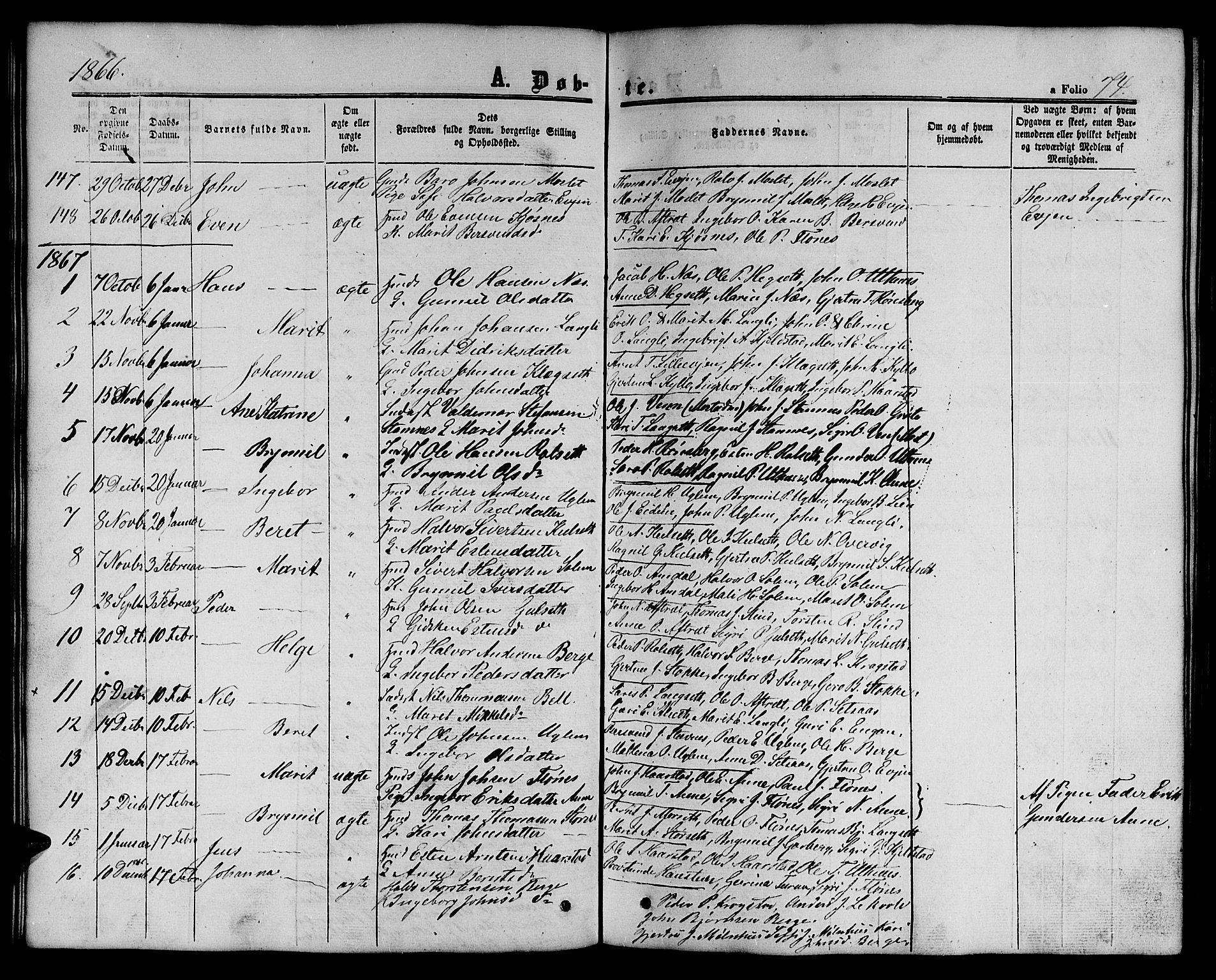 SAT, Ministerialprotokoller, klokkerbøker og fødselsregistre - Sør-Trøndelag, 695/L1155: Klokkerbok nr. 695C06, 1859-1868, s. 74