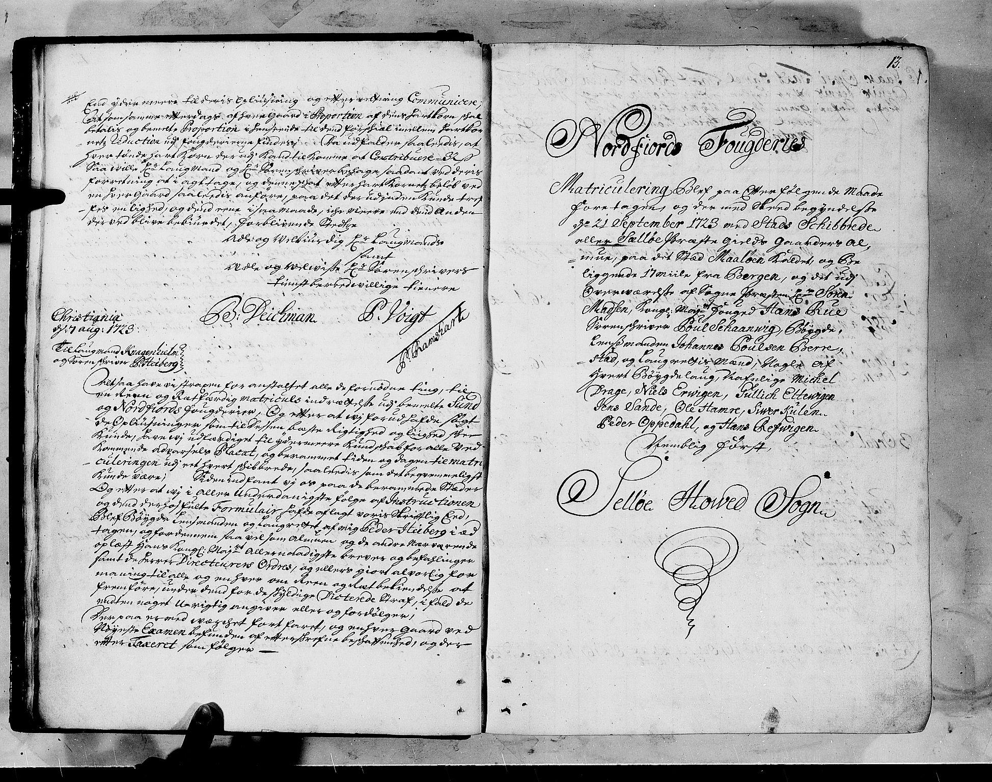 RA, Rentekammeret inntil 1814, Realistisk ordnet avdeling, N/Nb/Nbf/L0147: Sunnfjord og Nordfjord matrikkelprotokoll, 1723, s. 12b-13a
