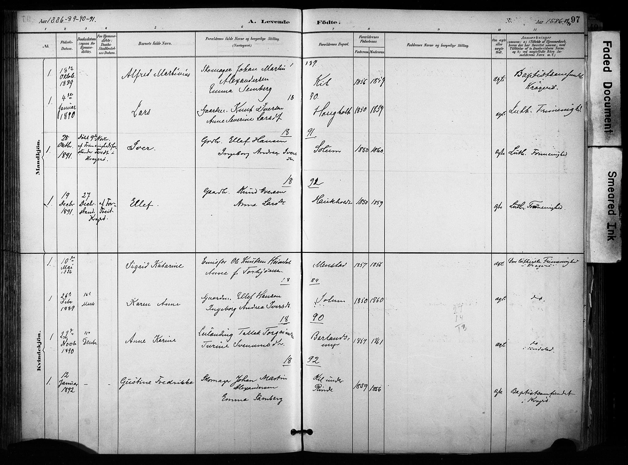 SAKO, Sannidal kirkebøker, F/Fa/L0015: Ministerialbok nr. 15, 1884-1899, s. 97