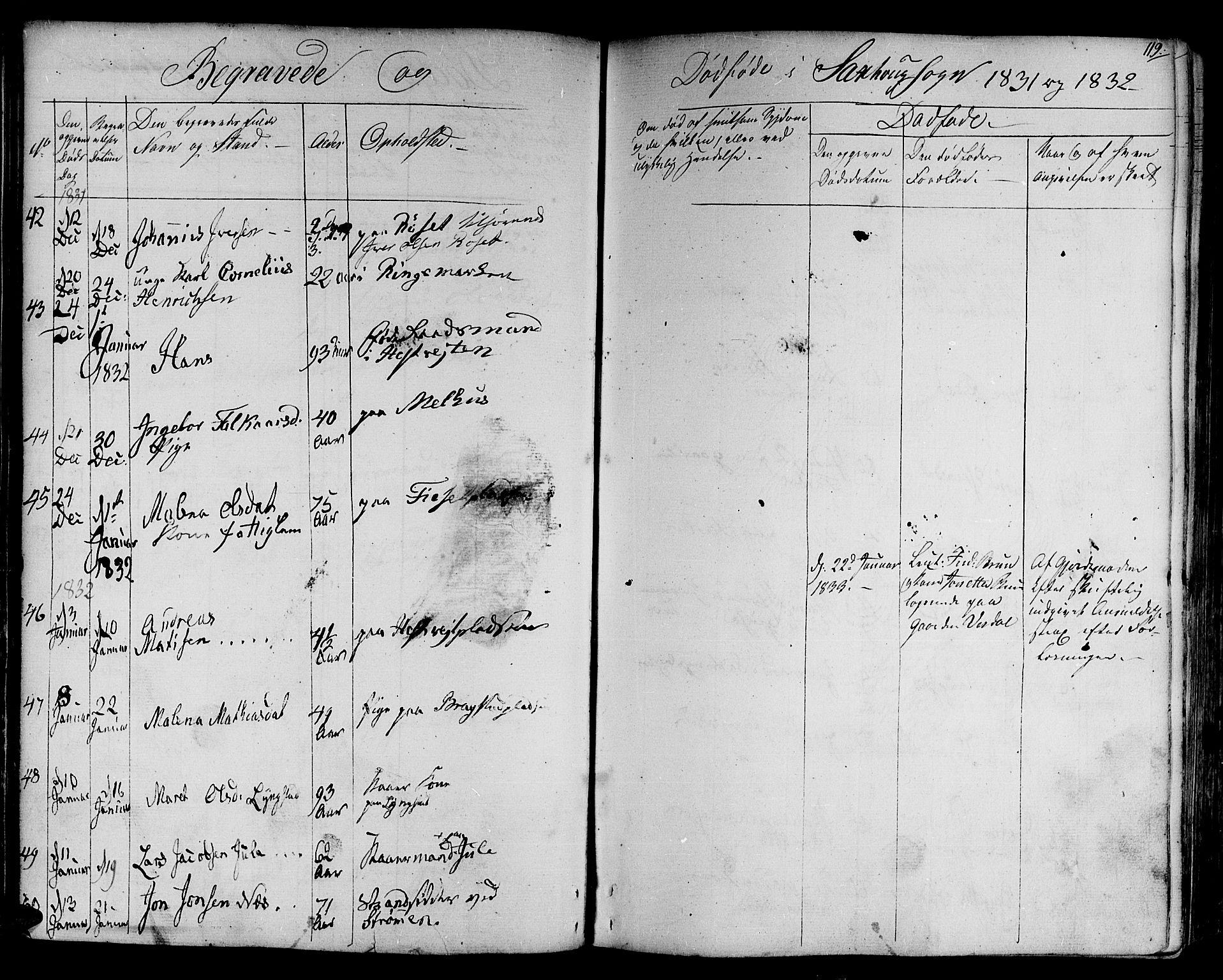 SAT, Ministerialprotokoller, klokkerbøker og fødselsregistre - Nord-Trøndelag, 730/L0277: Ministerialbok nr. 730A06 /1, 1830-1839, s. 119