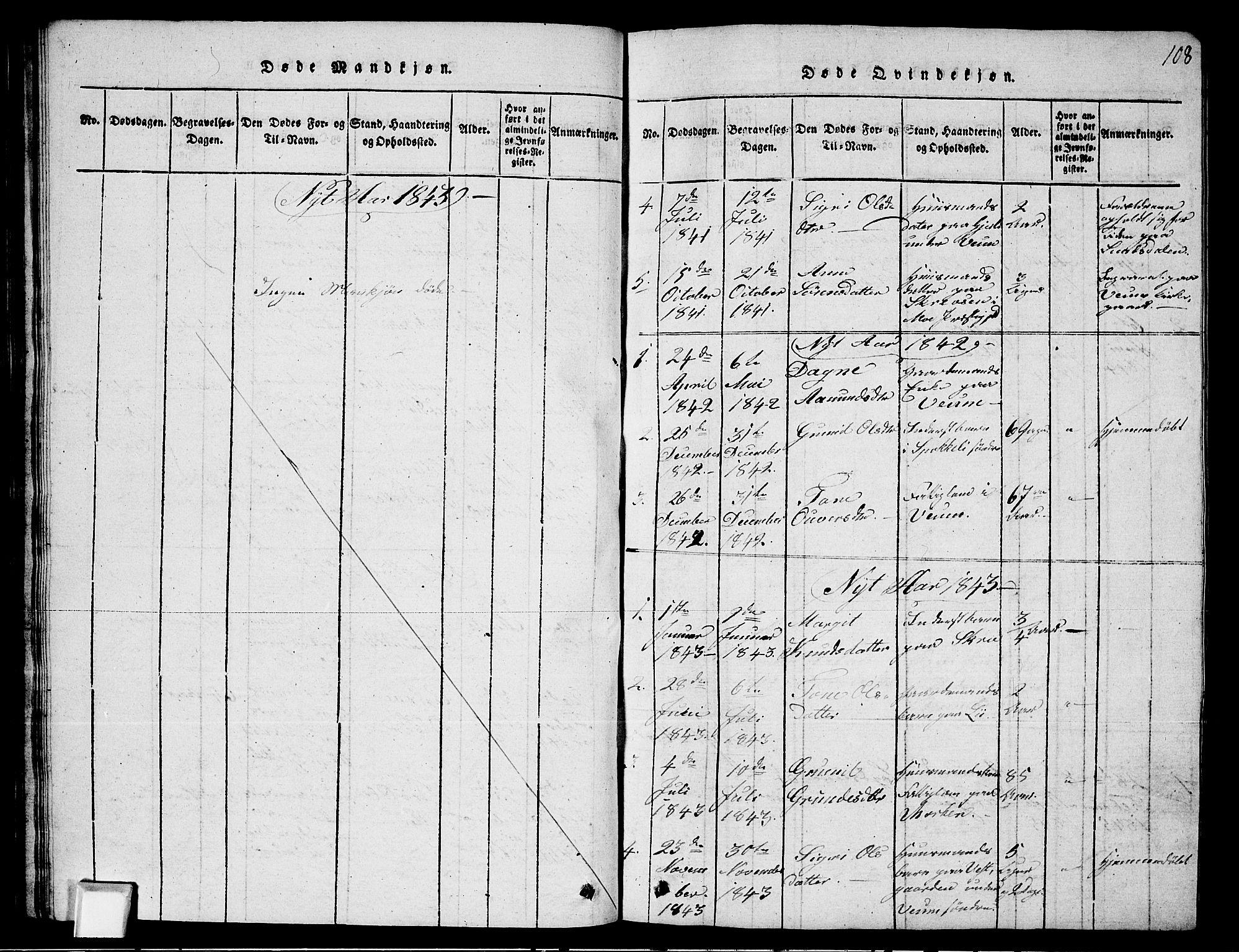 SAKO, Fyresdal kirkebøker, G/Ga/L0003: Klokkerbok nr. I 3, 1815-1863, s. 108