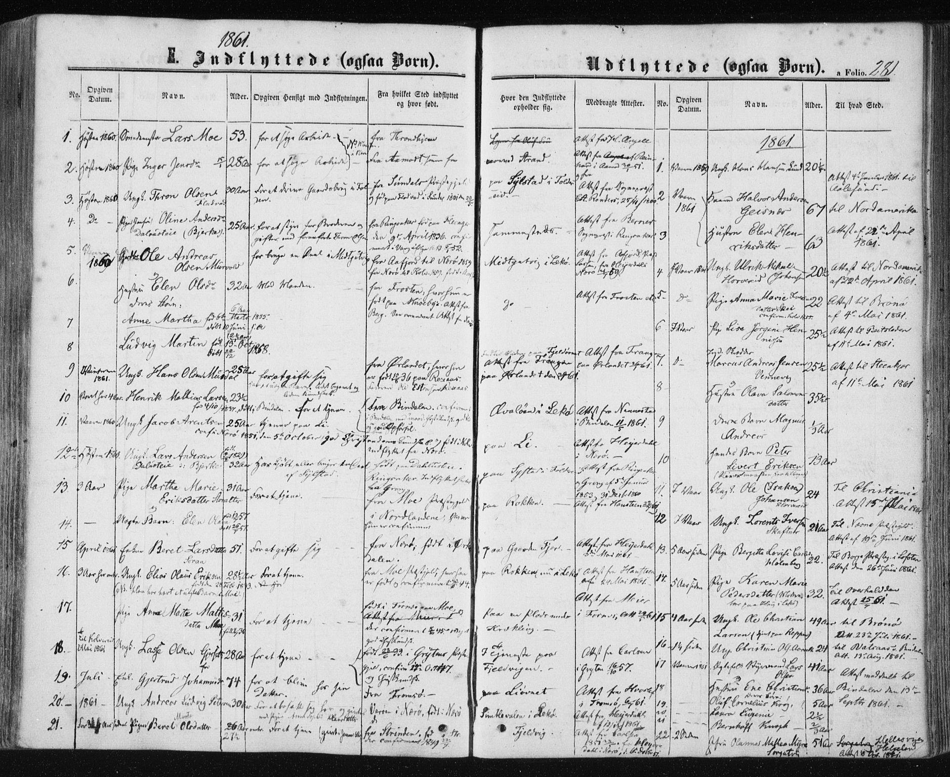 SAT, Ministerialprotokoller, klokkerbøker og fødselsregistre - Nord-Trøndelag, 780/L0641: Ministerialbok nr. 780A06, 1857-1874, s. 281