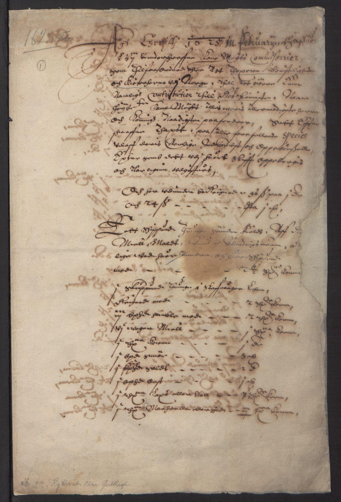 RA, Stattholderembetet 1572-1771, Ek/L0016: Jordebøker til utlikning av rosstjeneste 1624-1626:, 1625, s. 3