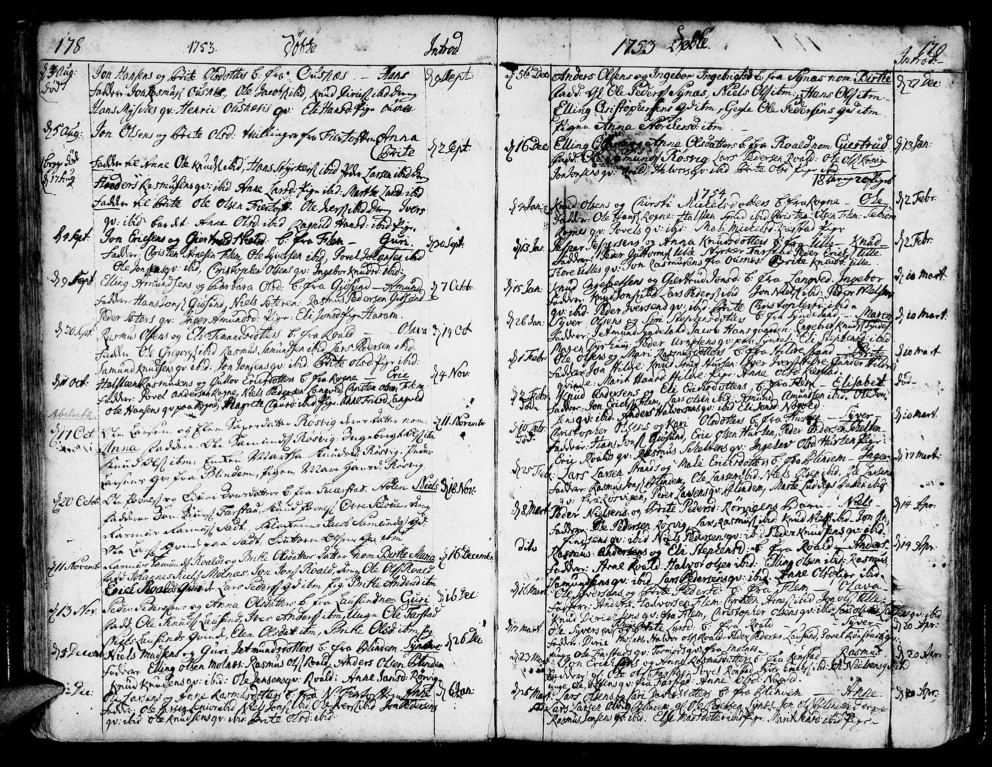 SAT, Ministerialprotokoller, klokkerbøker og fødselsregistre - Møre og Romsdal, 536/L0493: Ministerialbok nr. 536A02, 1739-1802, s. 178-179