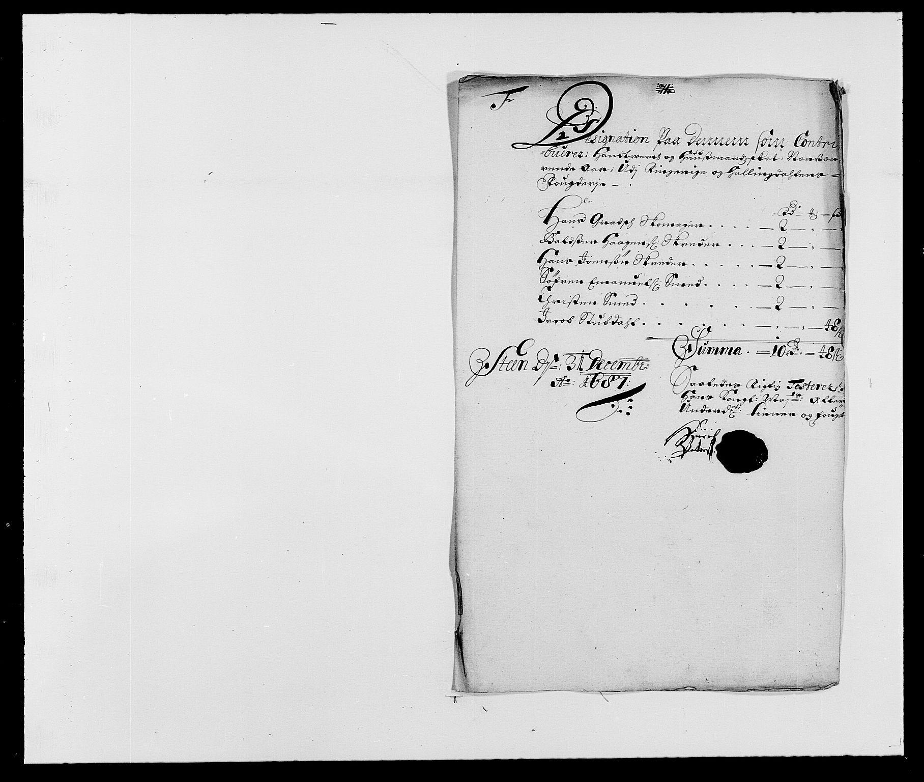 RA, Rentekammeret inntil 1814, Reviderte regnskaper, Fogderegnskap, R21/L1447: Fogderegnskap Ringerike og Hallingdal, 1687-1689, s. 58