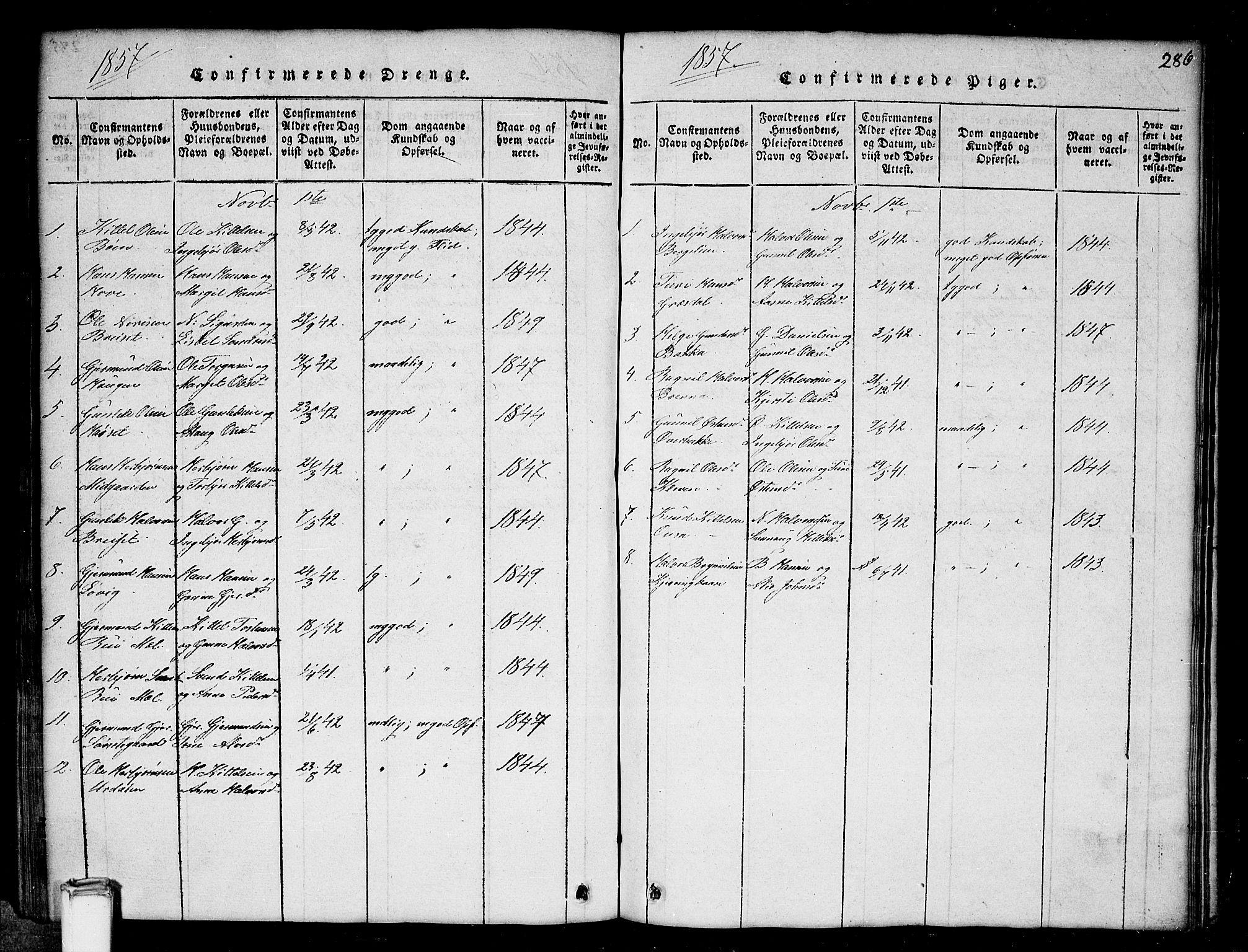 SAKO, Gransherad kirkebøker, G/Gb/L0001: Klokkerbok nr. II 1, 1815-1860, s. 286