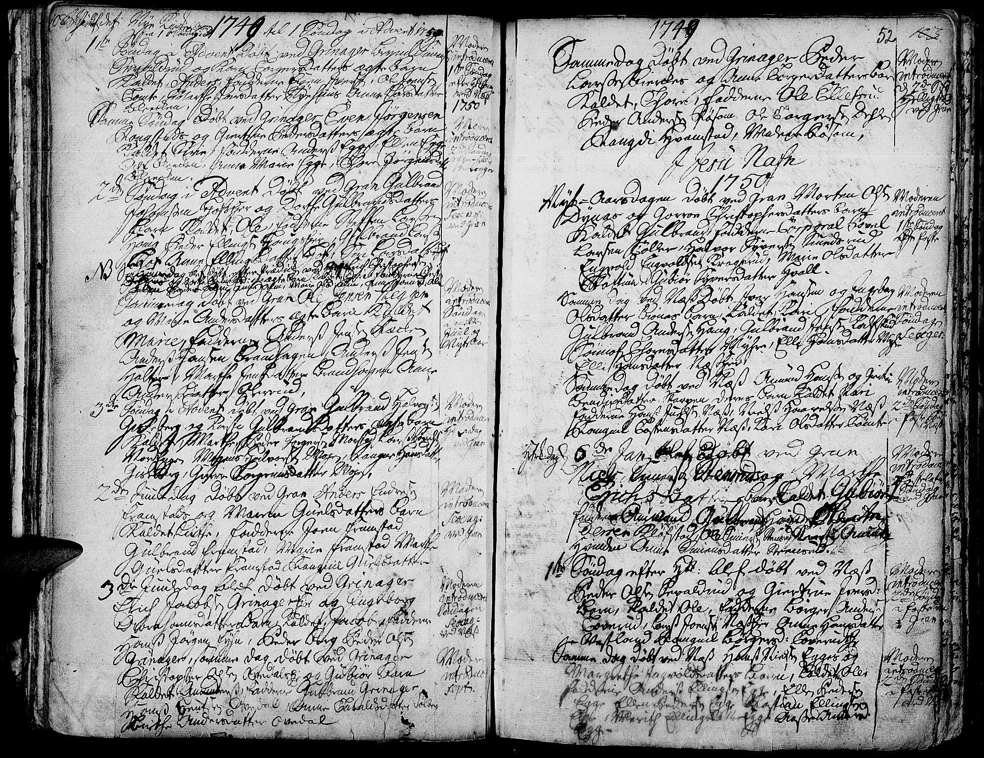 SAH, Gran prestekontor, Ministerialbok nr. 3, 1745-1758, s. 52