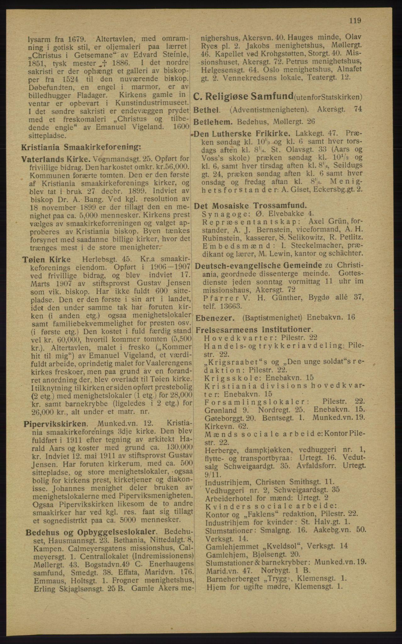 RA, Kristiania adressebok (publikasjon)*, 1913, s. 119