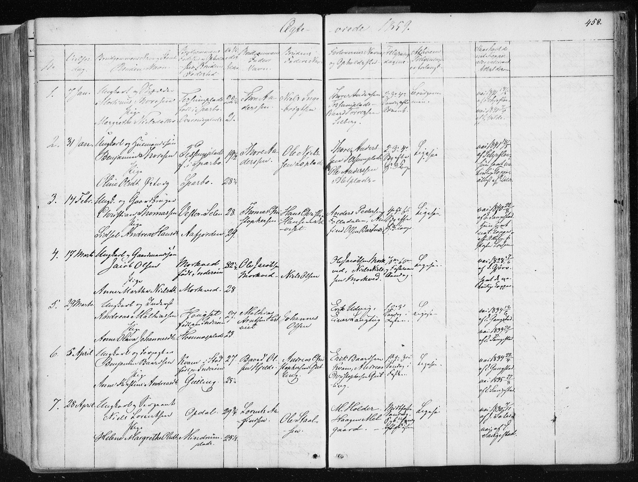 SAT, Ministerialprotokoller, klokkerbøker og fødselsregistre - Nord-Trøndelag, 741/L0393: Ministerialbok nr. 741A07, 1849-1863, s. 458